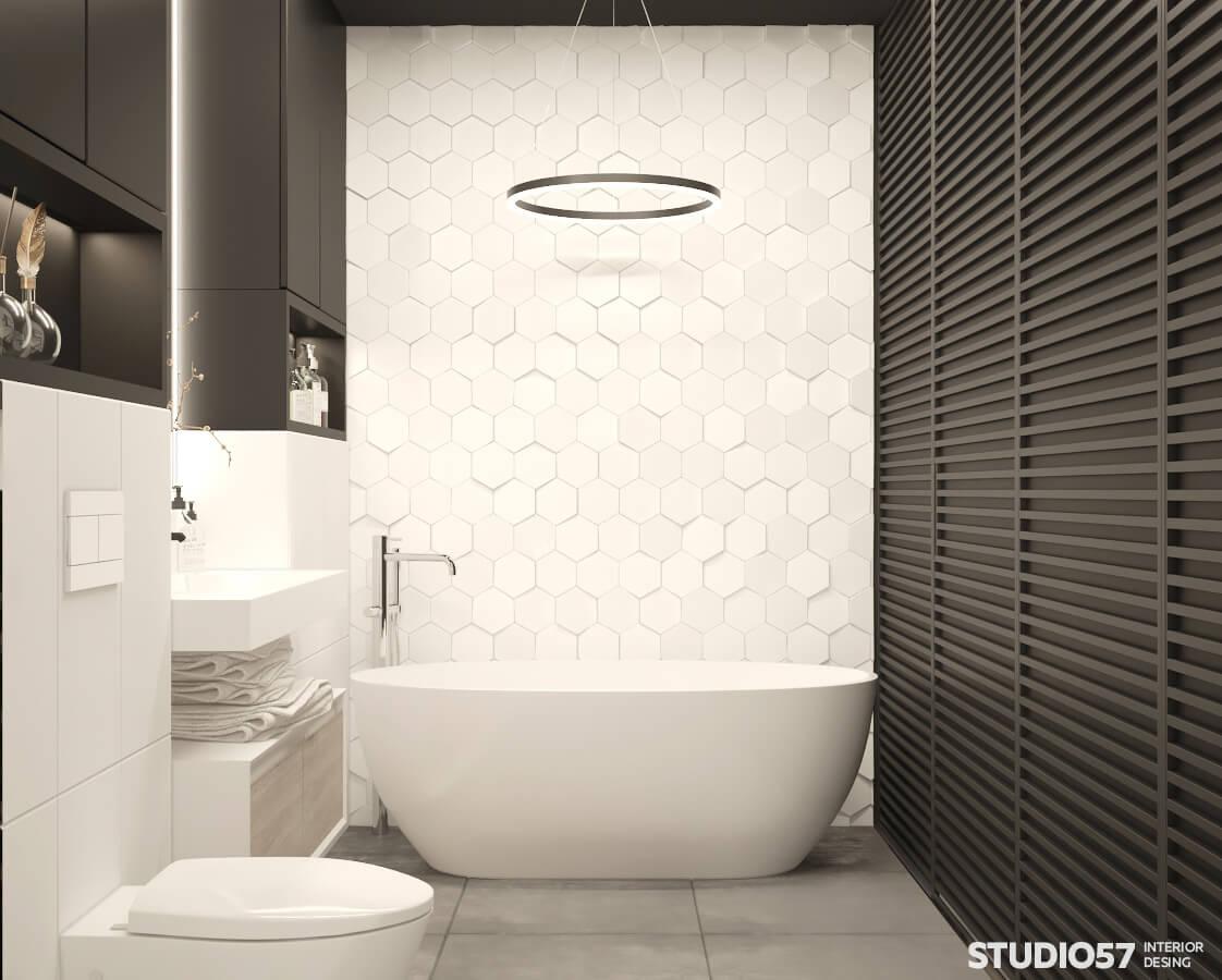 Фото черно-белого интерьера ванной комнаты