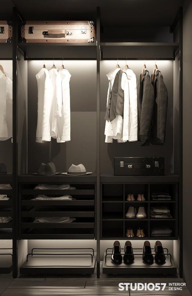 Интерьер гардеробной в спальне