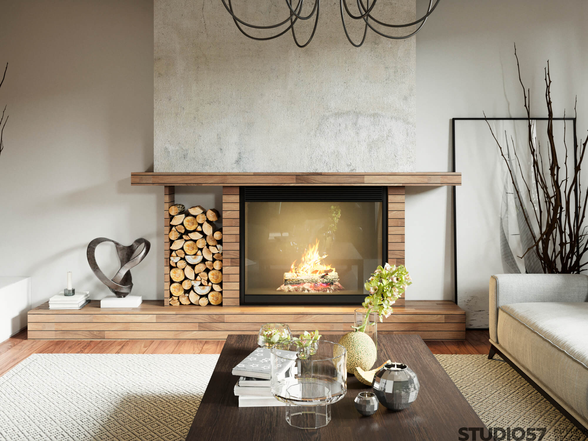 Fireplace in the living room of a private house