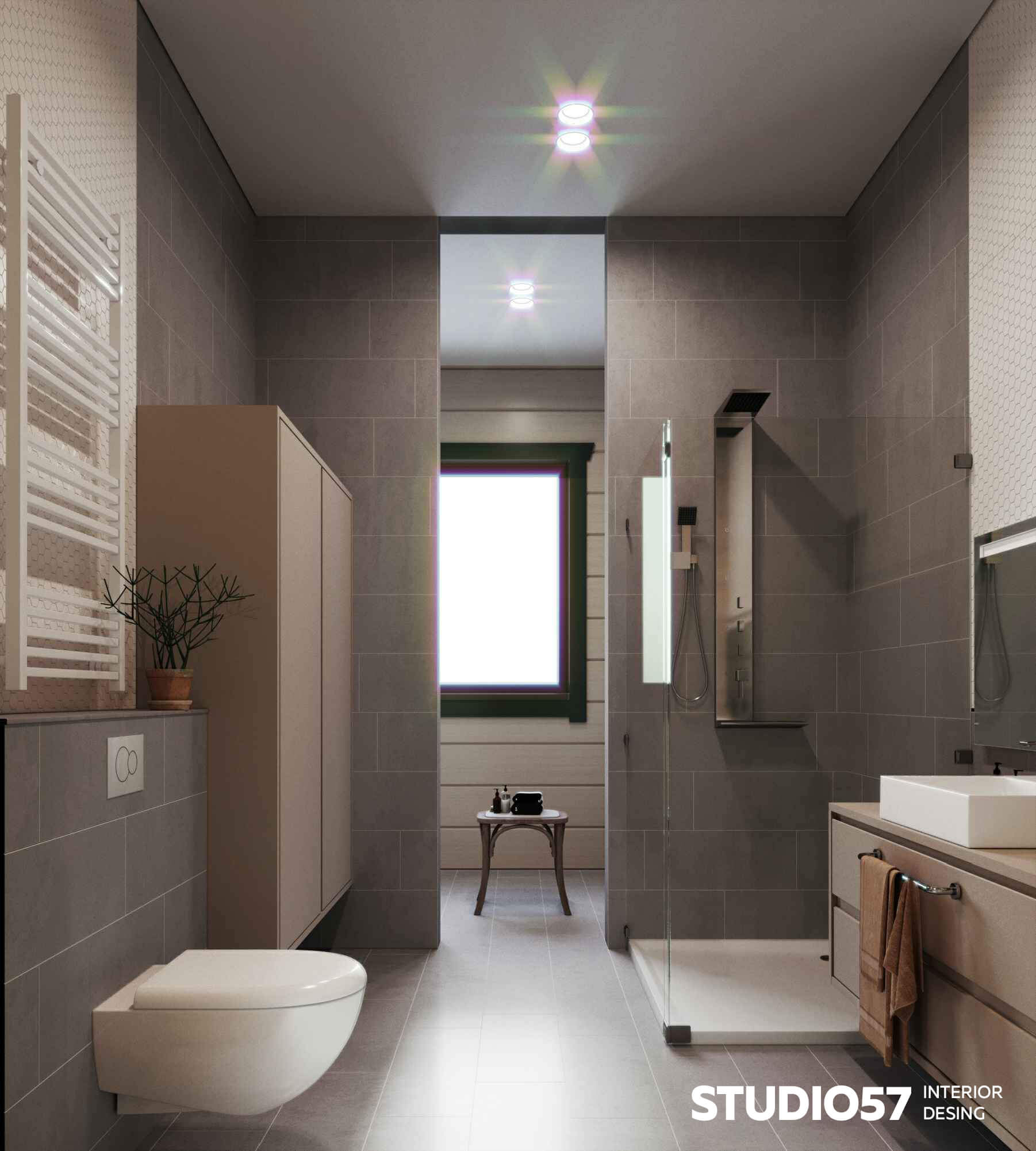 Modern bathroom in soft colors