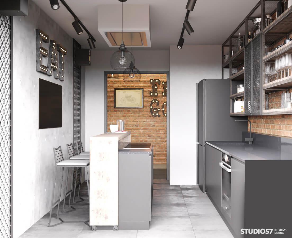 Фото серого интерьера кухни