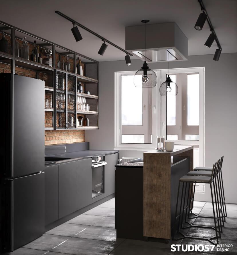 Пример оформления кухни в стиле лофт