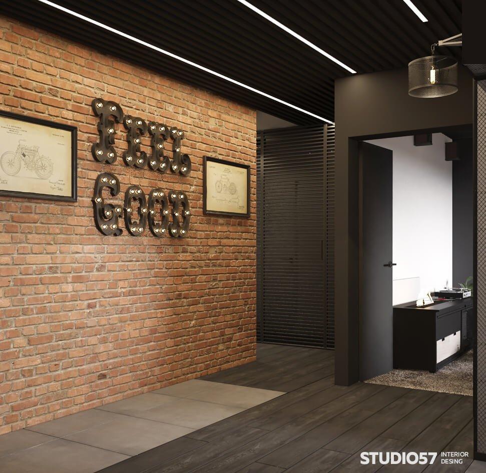 Дизайн интерьера прихожей в стиле лофт