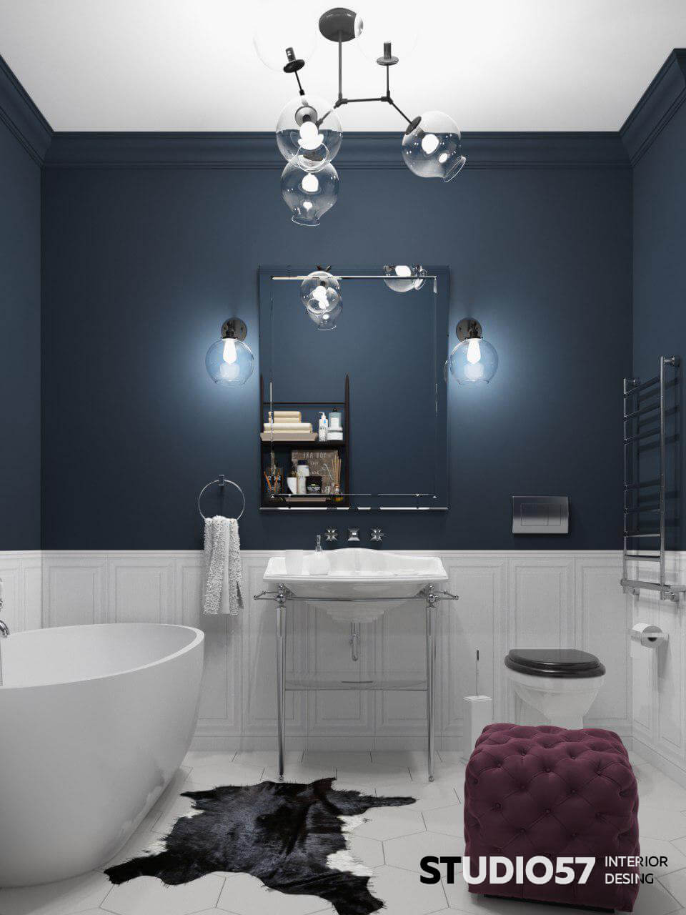 Burgundy and blue in the bathroom