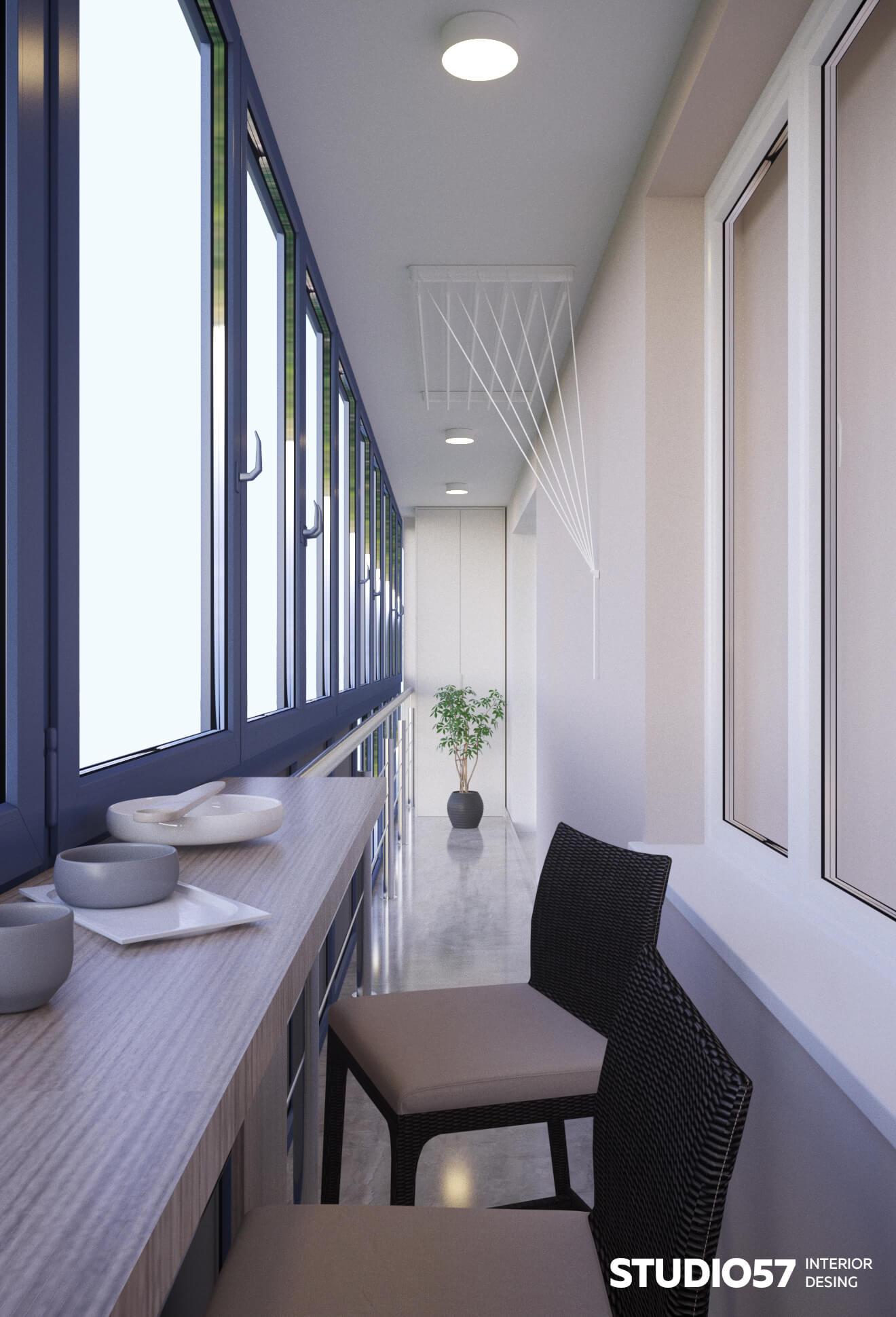 Интерьер застекленного балкона