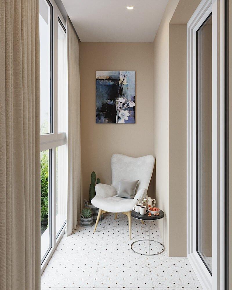 Бежевый интерьер на балконе