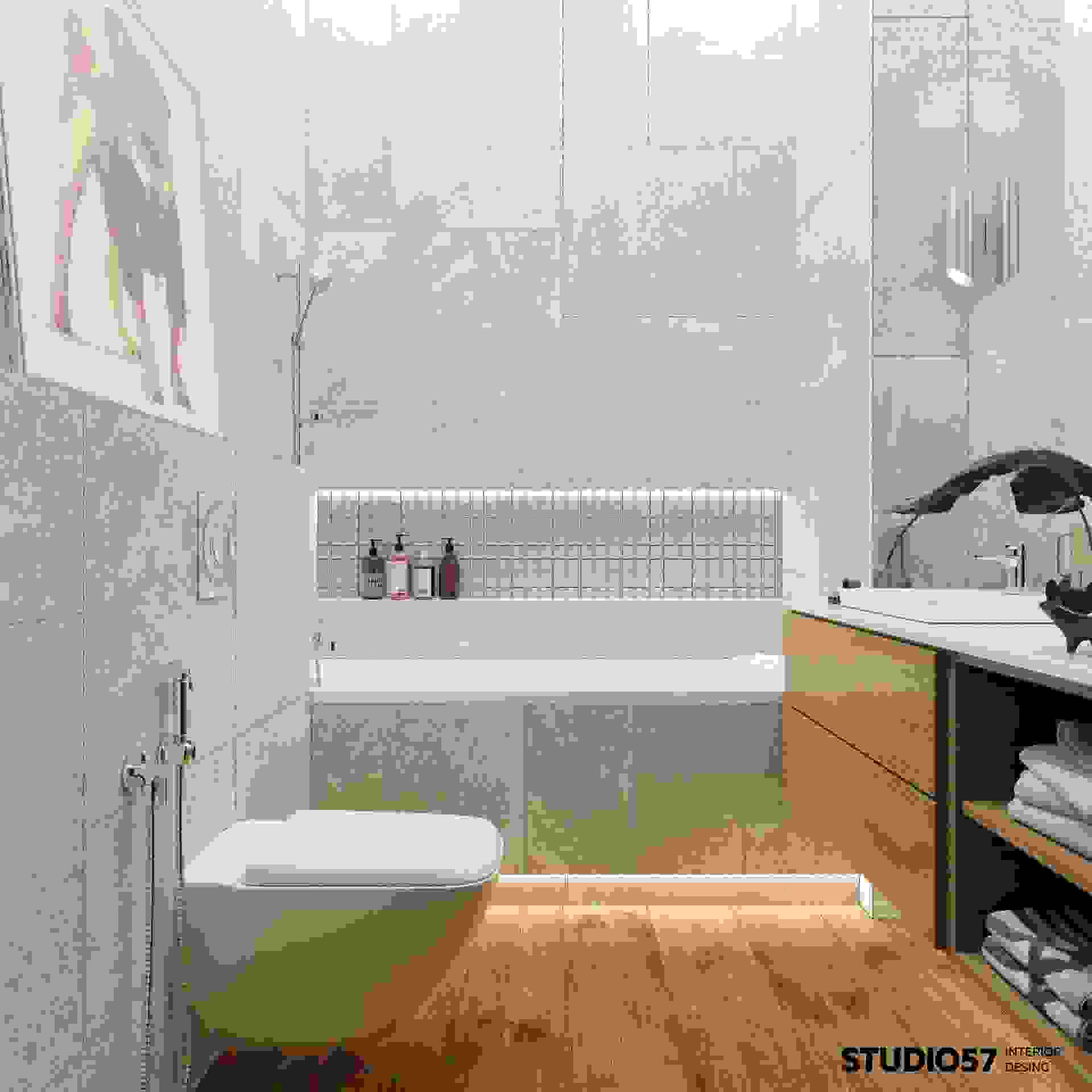 Design project of the bathroom with toilet