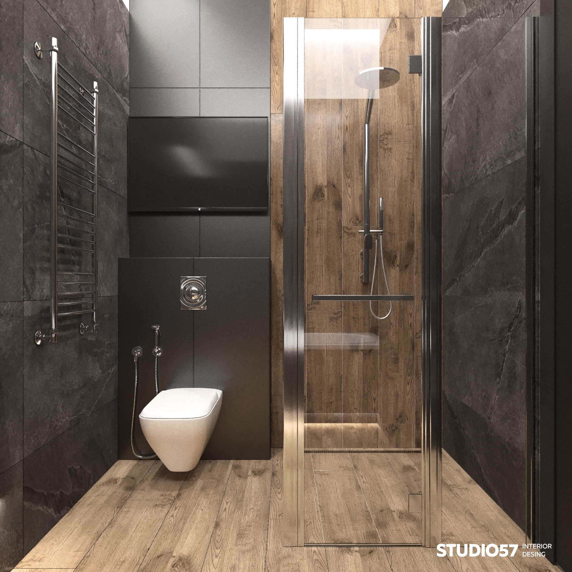 Shower cabin with dark wood