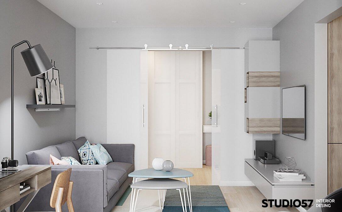 оформление стены с телевизором в гостиной