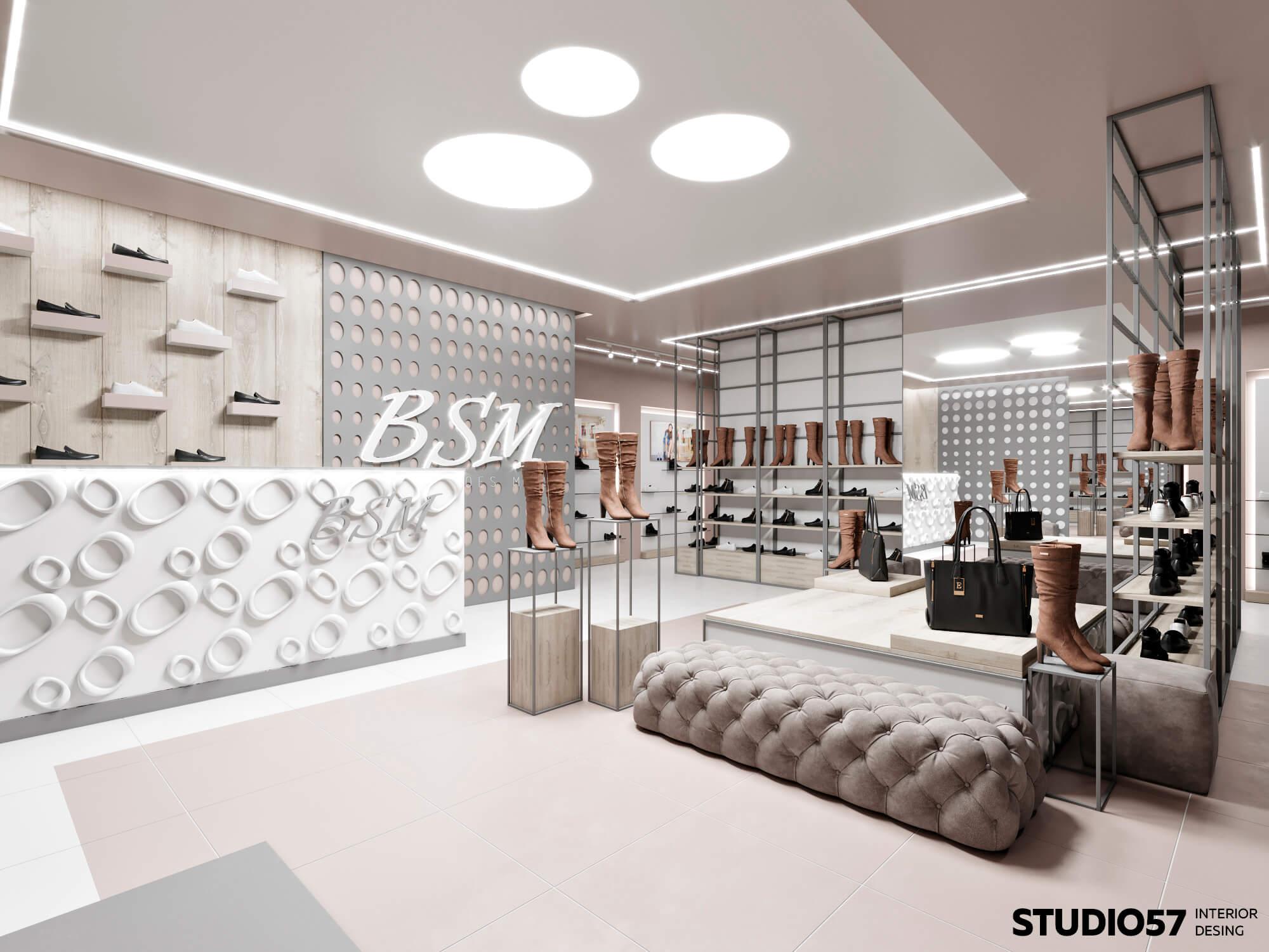 Светлый интерьер магазина классика