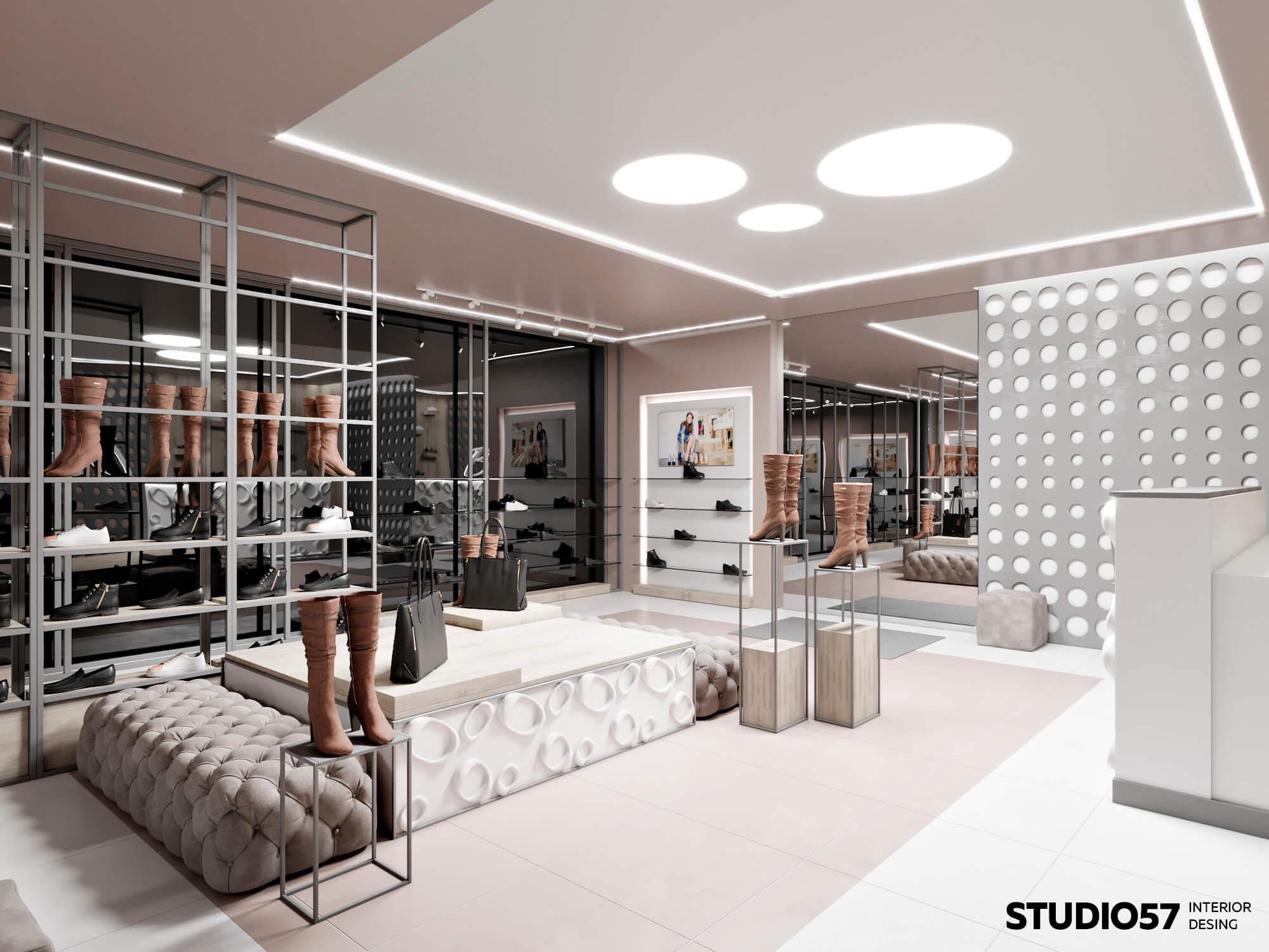 Белый светлый интерьер магазина обуви