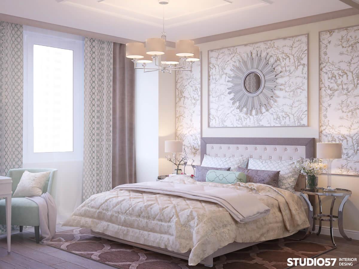 современное оформление стен в спальне