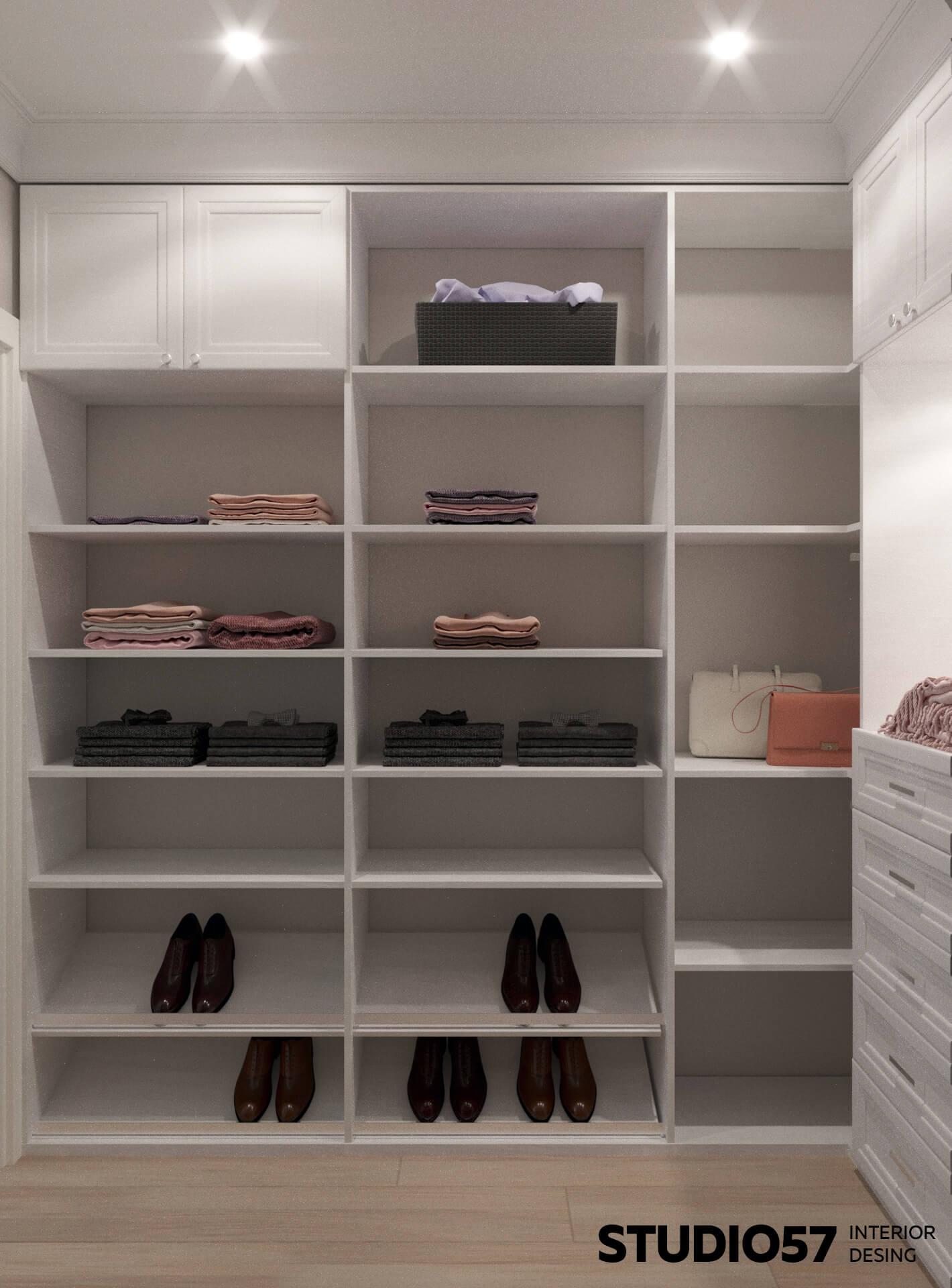 Полки для одежды в гардеробной