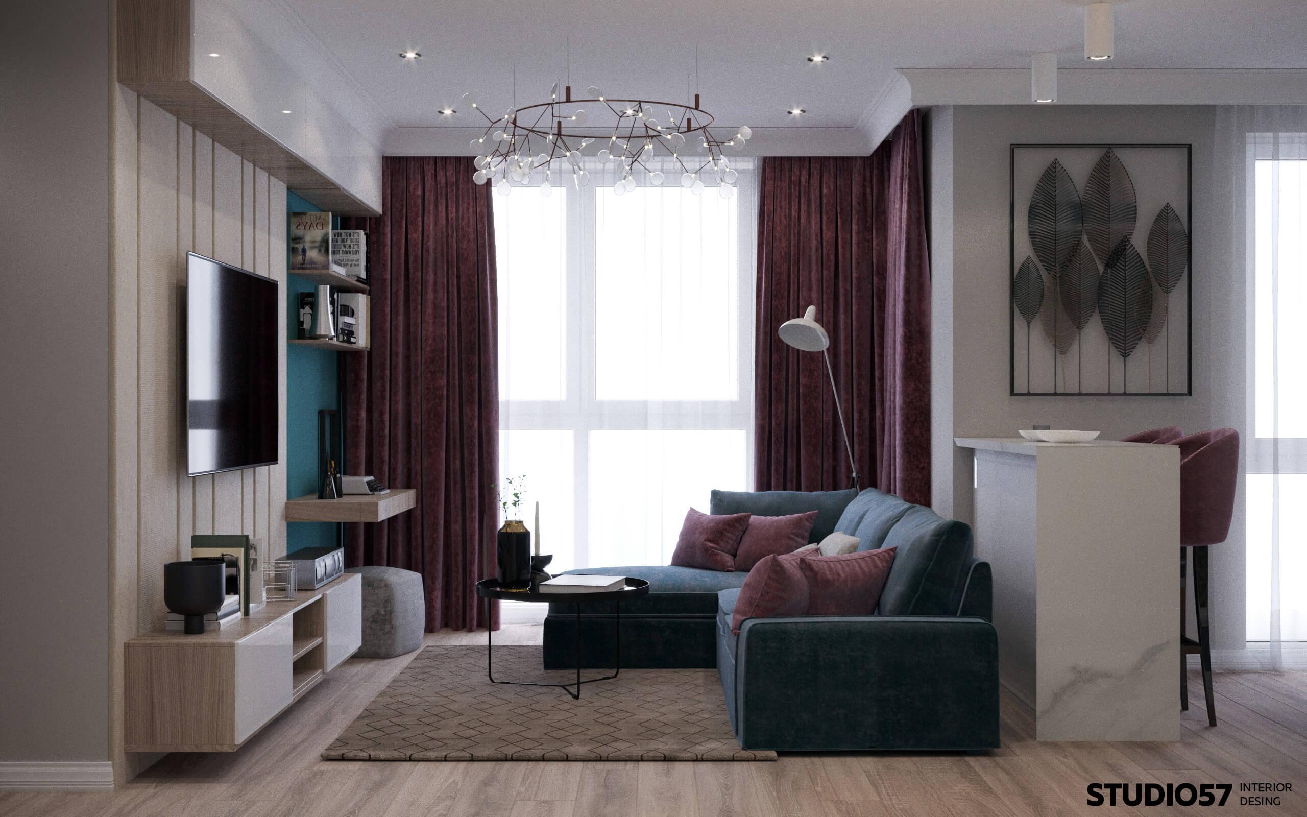 интерьер зала в квартире