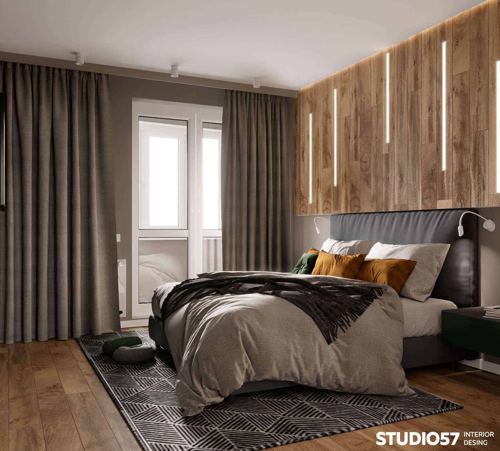 оформление окон шторами в спальне