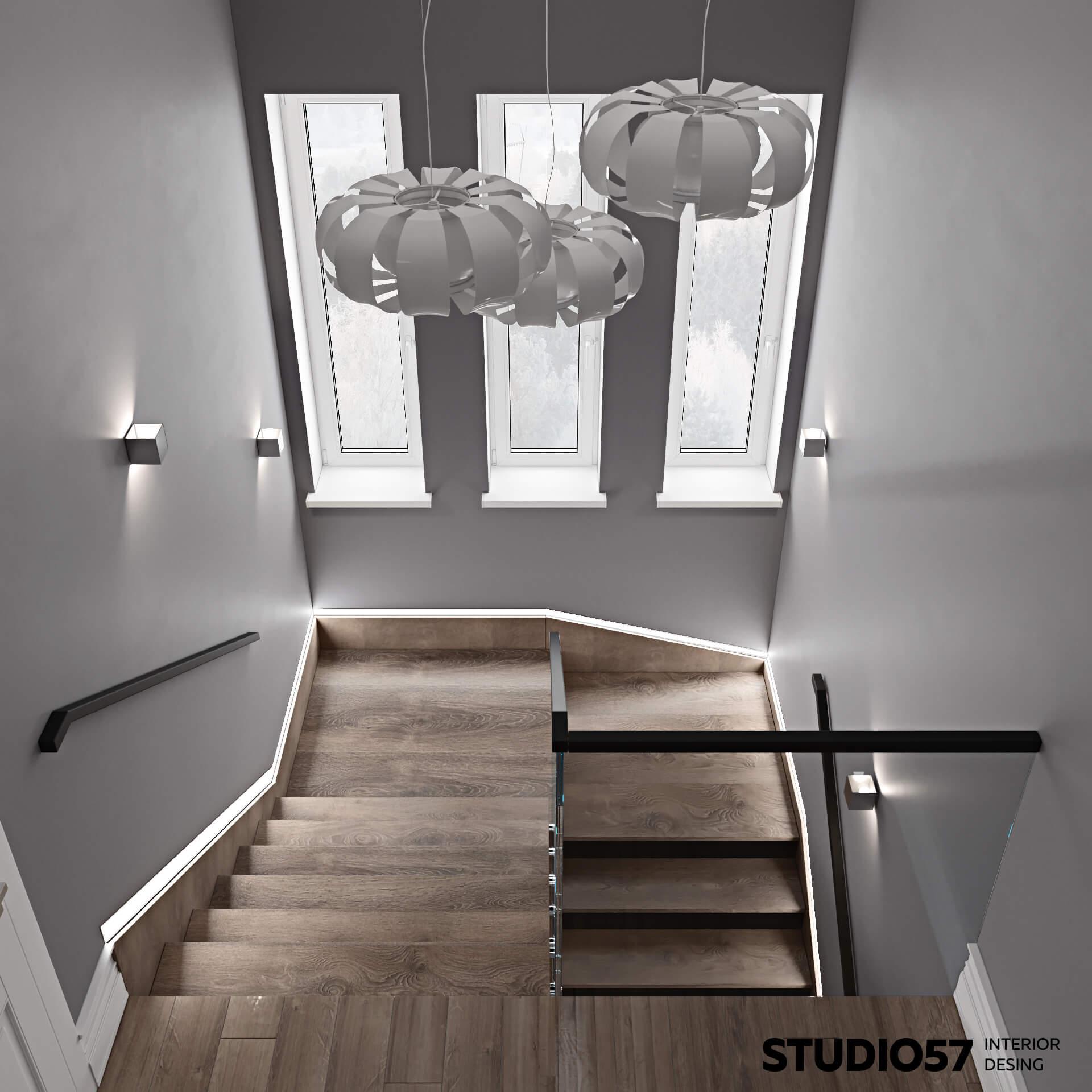 Светильники на лестнице двухэтажного дома