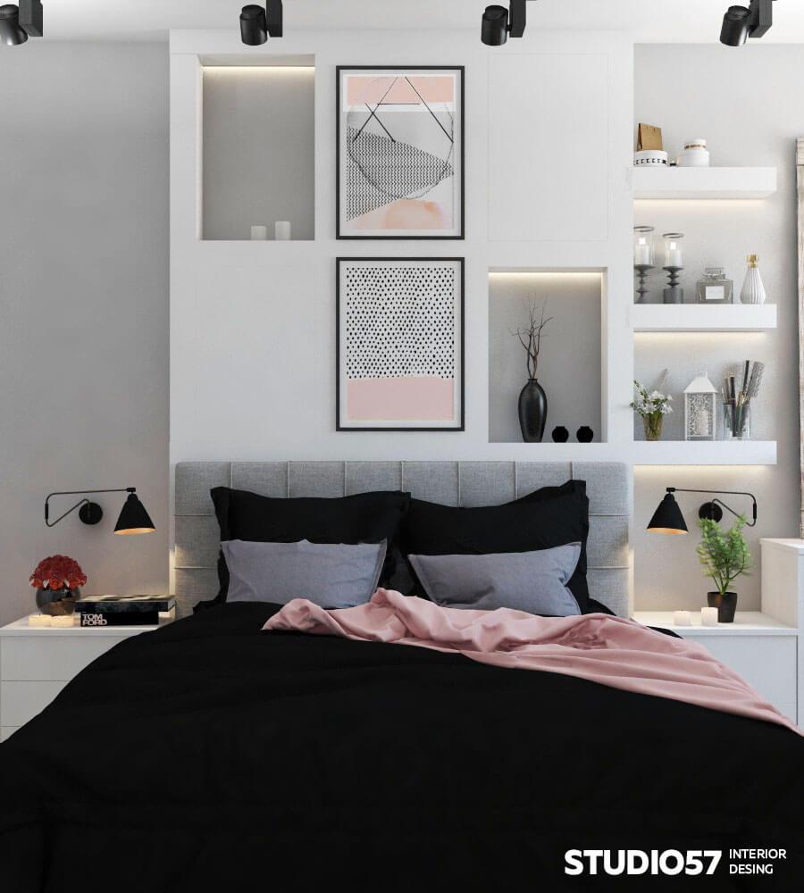 Оформление стены в спальне над кроватью