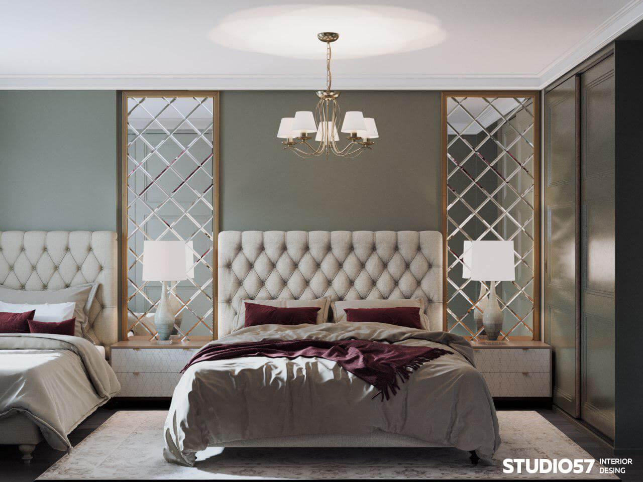 оформление над кроватью в спальне