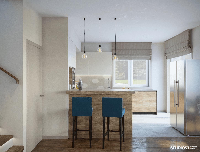 интерьер кухни гостиной в частном доме