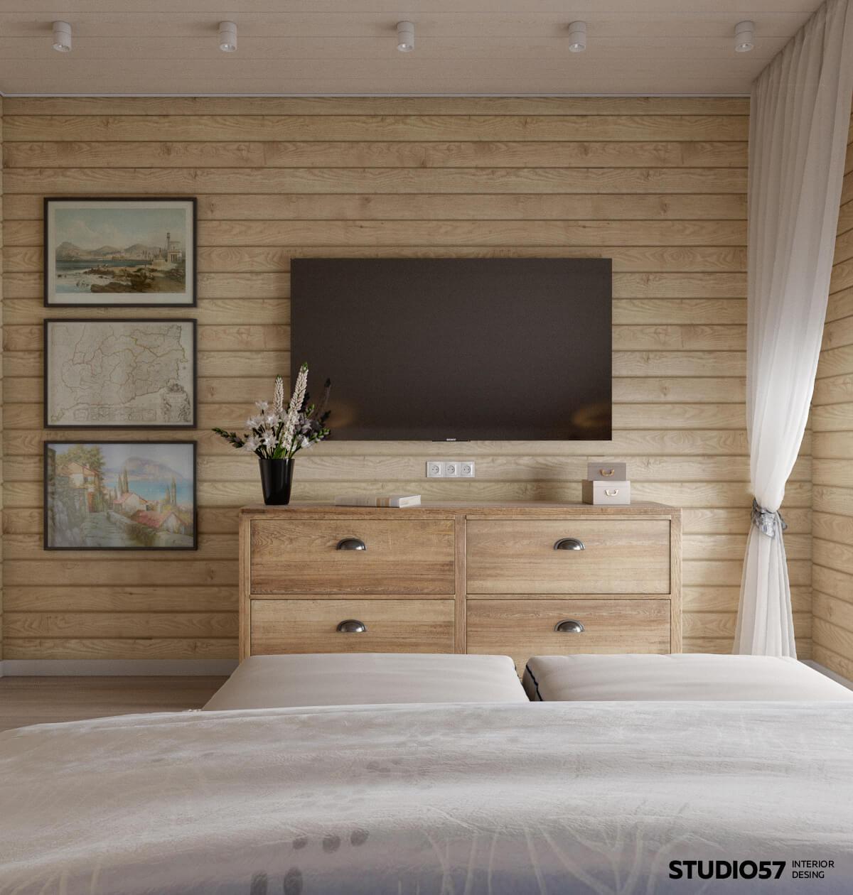 Оформление телевизора в спальне
