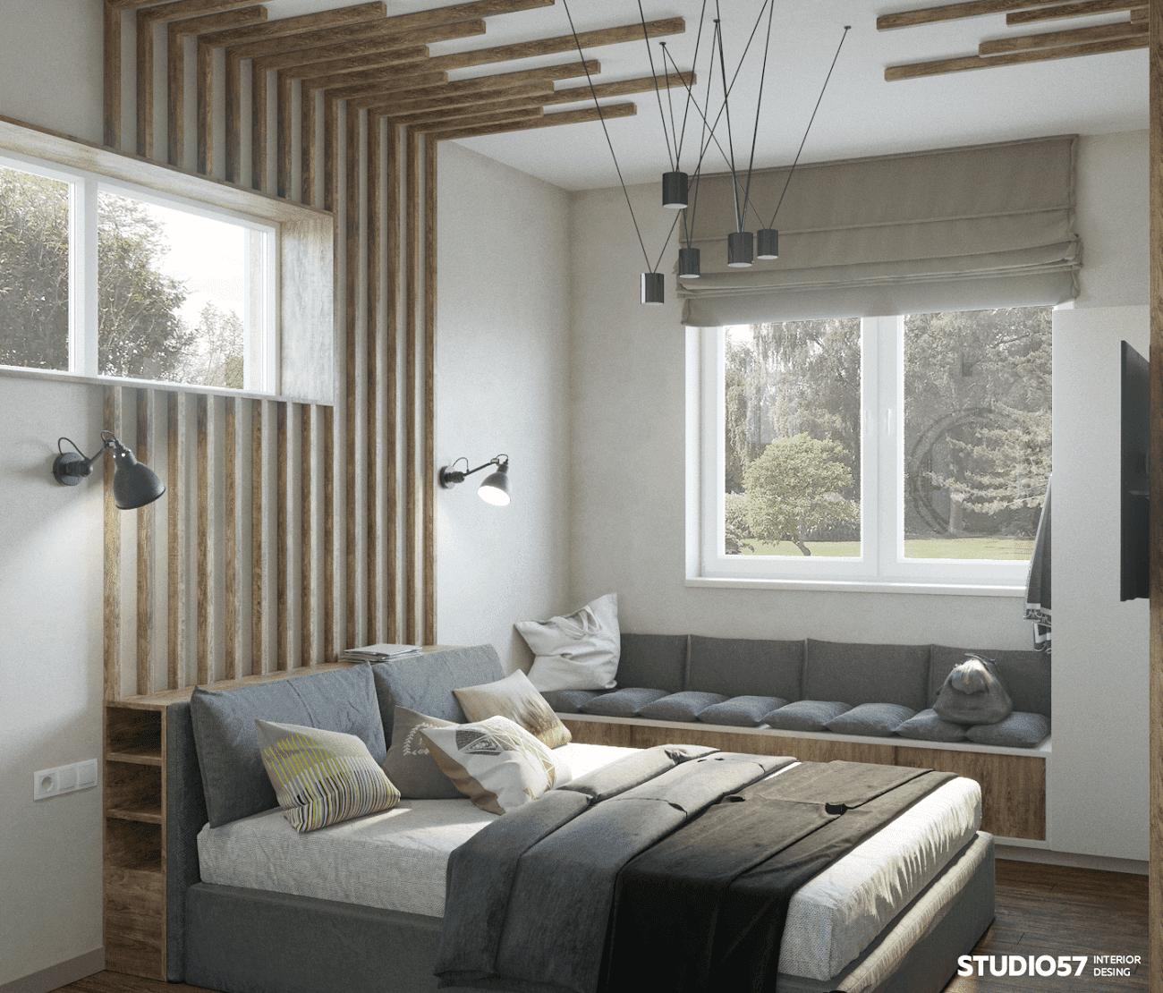 деревянная спальня интерьер