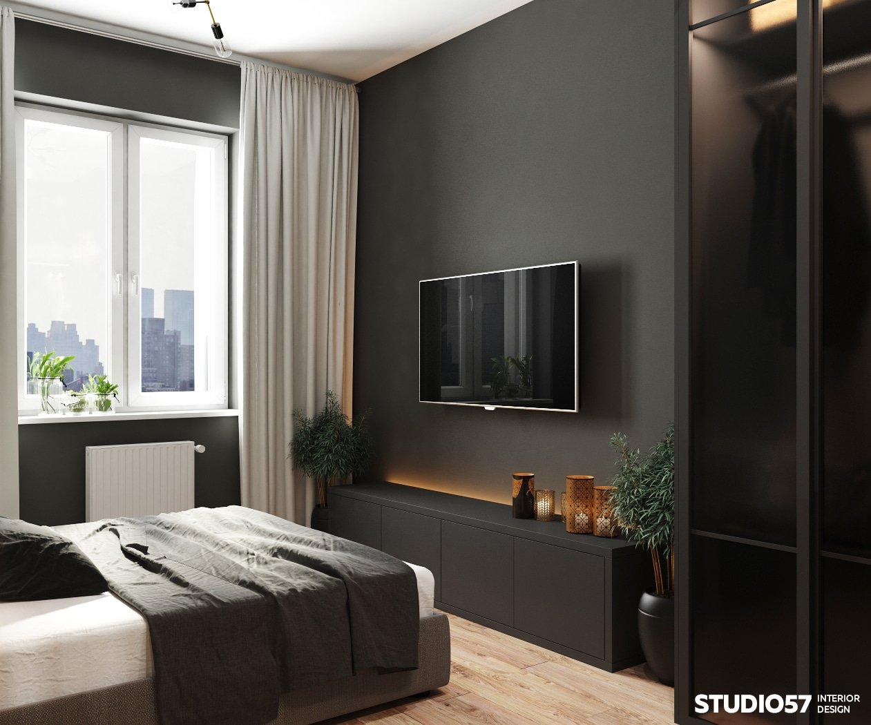 Чёрная спальня в трёхкомнатной квартире