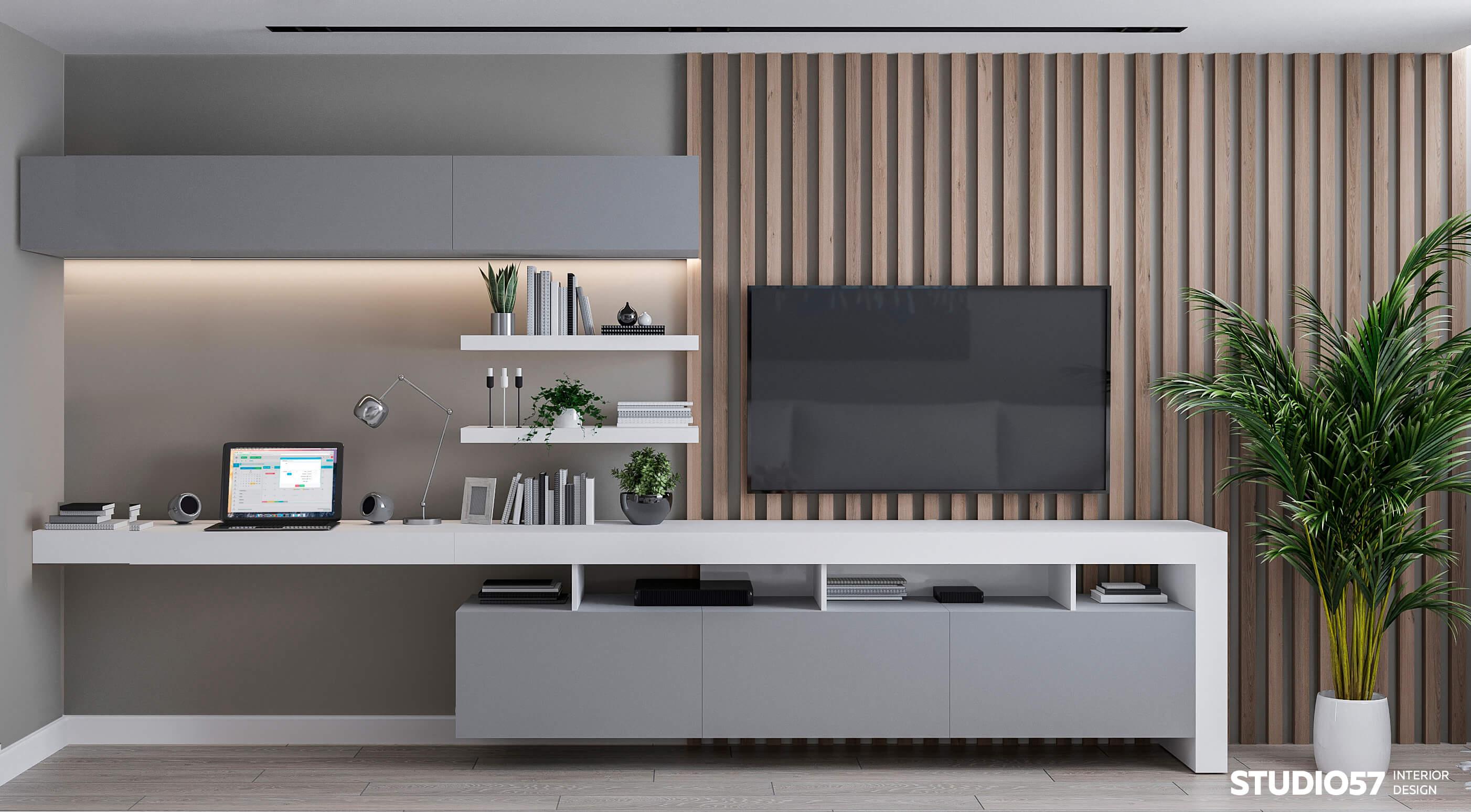Дизайн гостиной с рейками