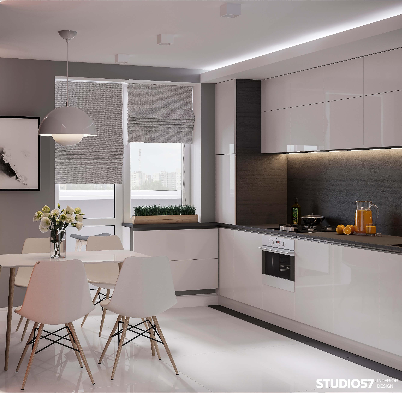 Белые глянцевые фасады на кухне
