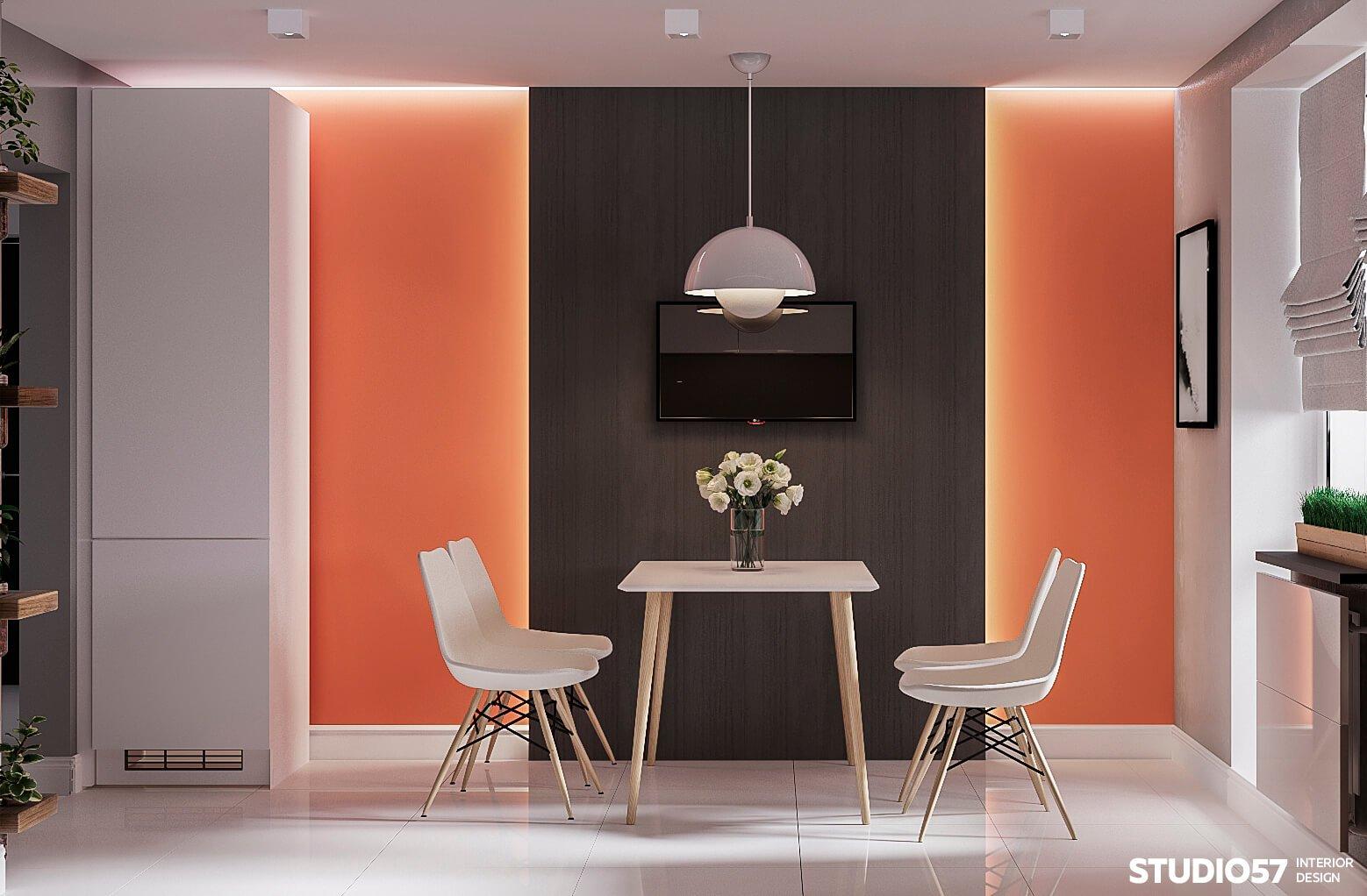 оранжевый цвет стен +на кухне