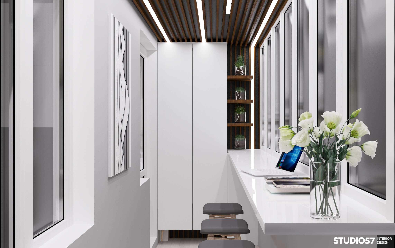 кабинет +на лоджии дизайн фото