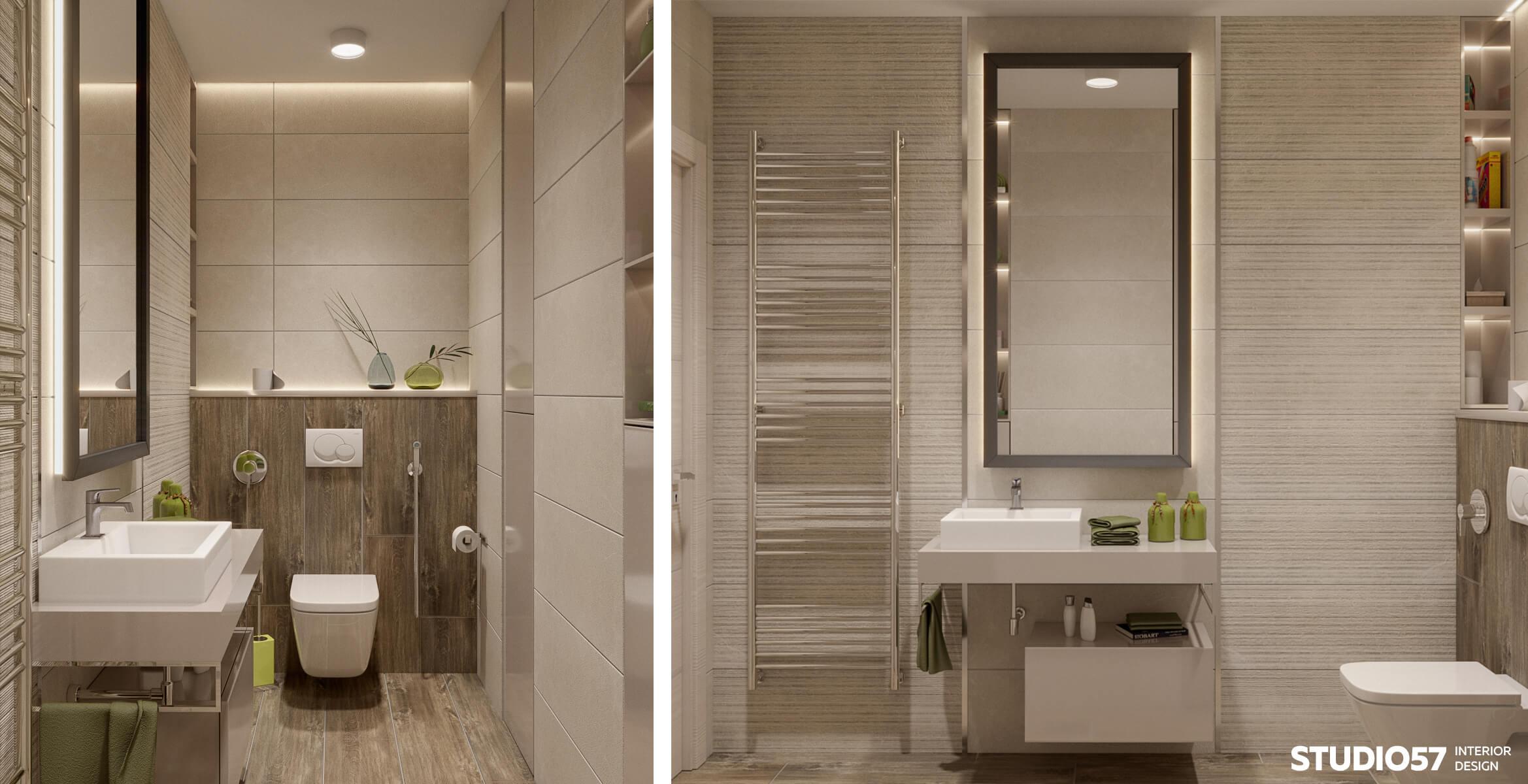 Дизайн туалета в трёхкомнатной комнате