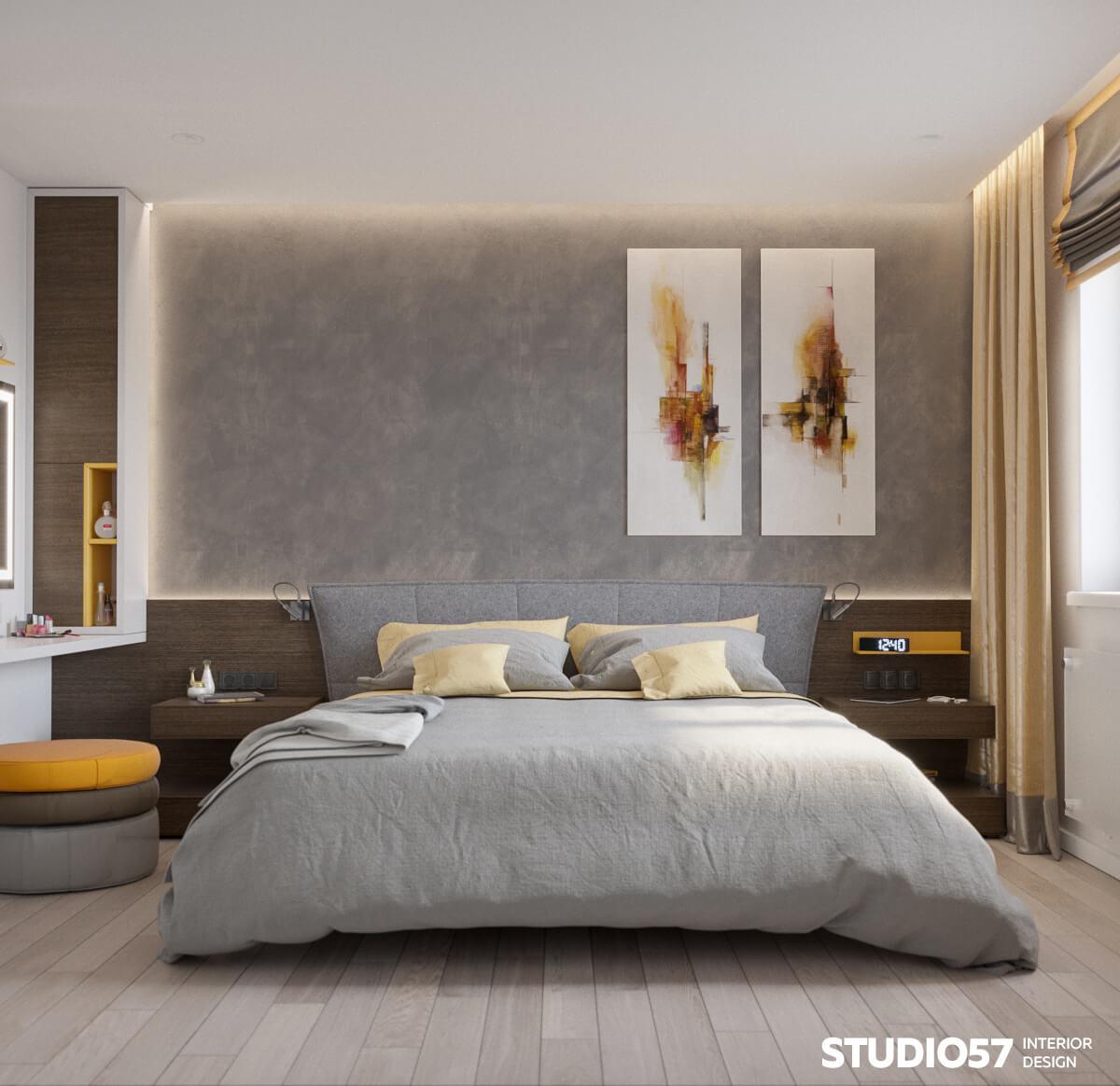 Спальня с жёлтыми оттенками