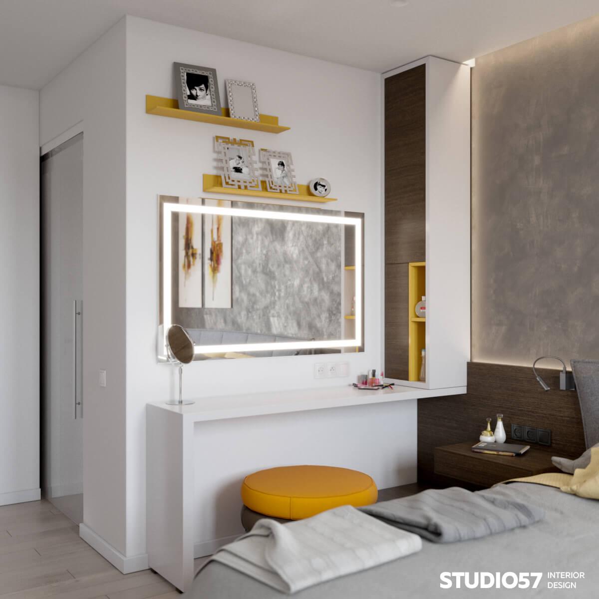 Туалетный столик с жёлтым пуфиком