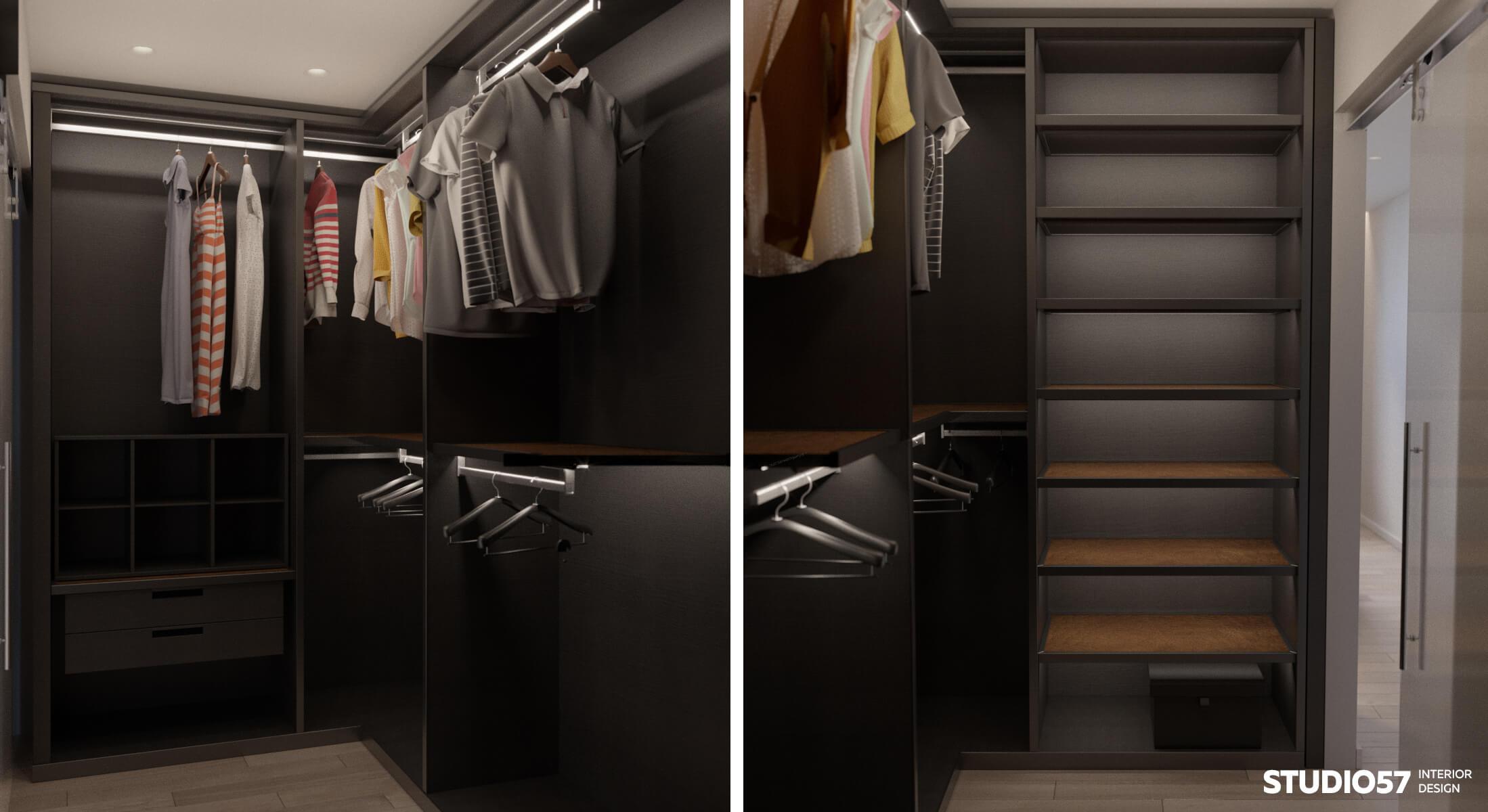 Вариант чёрной гардеробной