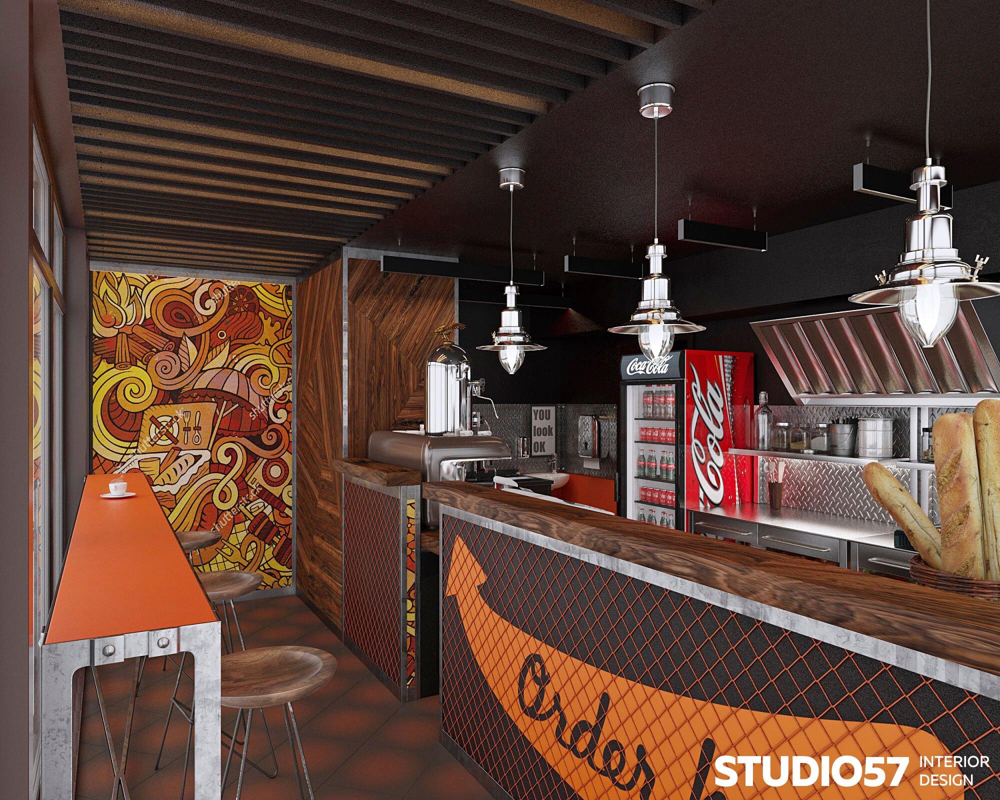 Оранжевый в дизайне кафе
