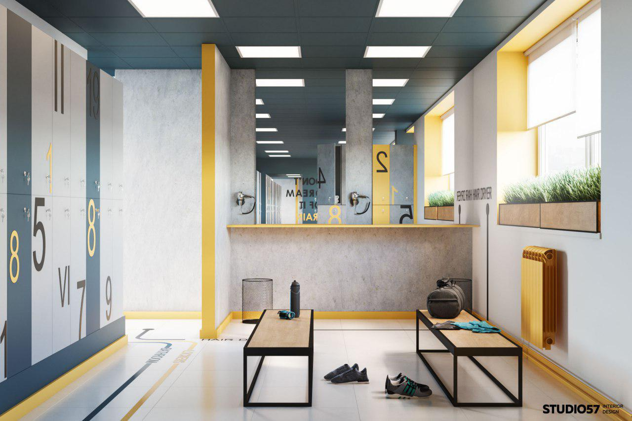 Дизайн переодевалки в тренажёрном зале