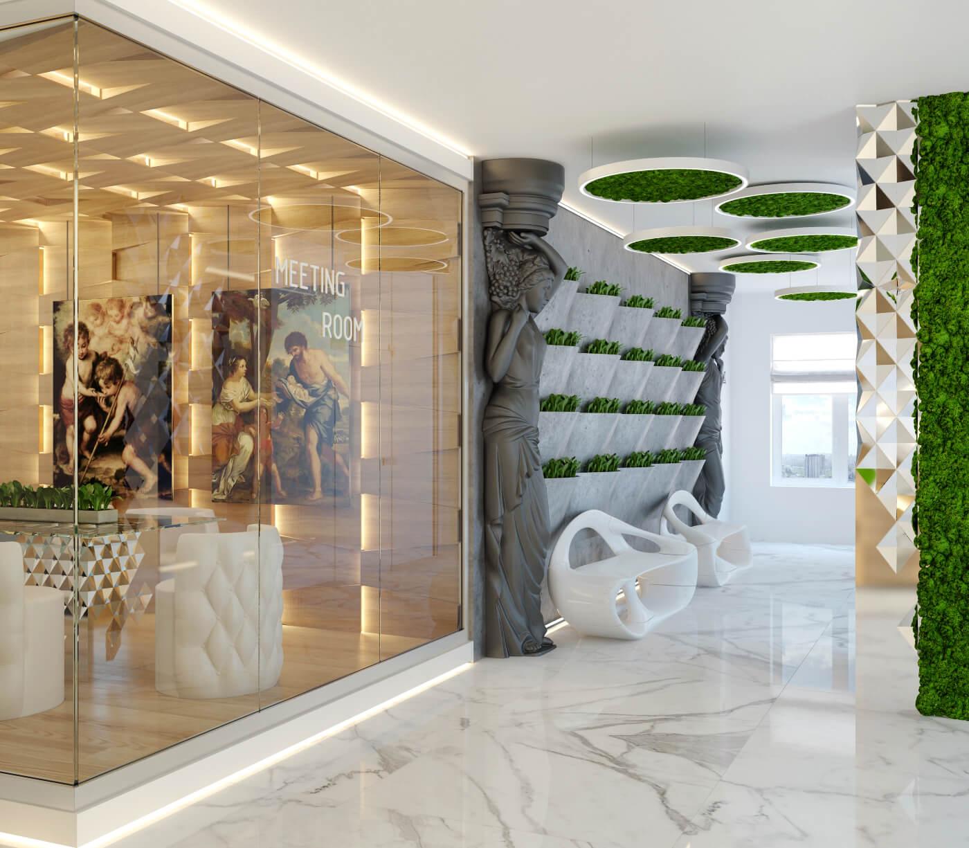 Softline - дизайн холла в античном стиле