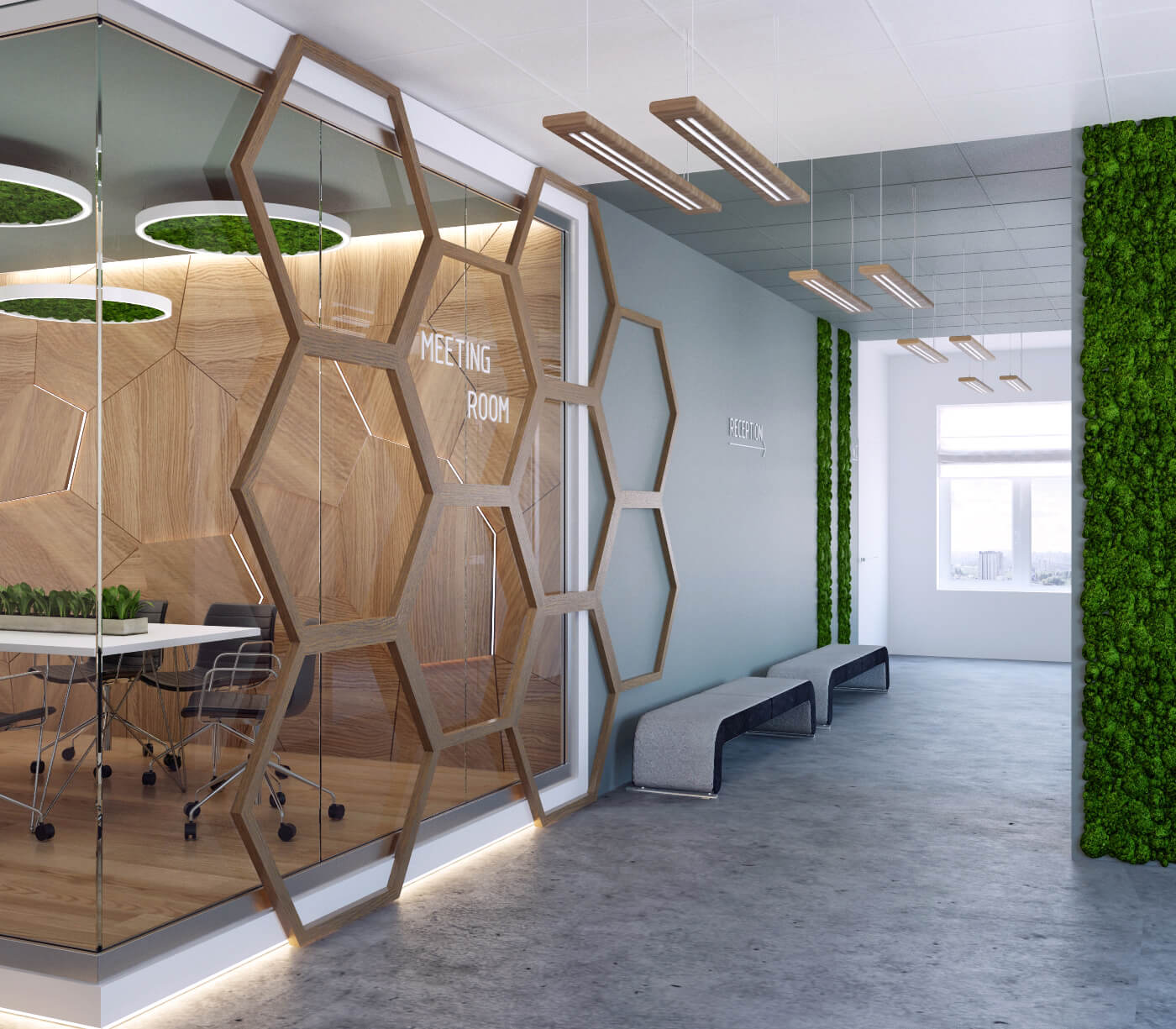 Softline - коридорSoftline - дизайн холла «соты»