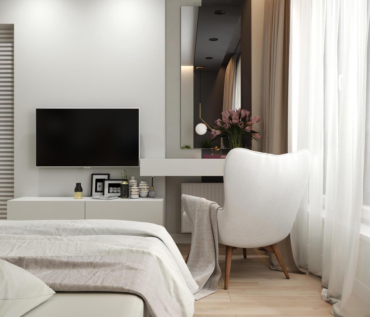 Спальня. Зона ТВ и туалетный столик