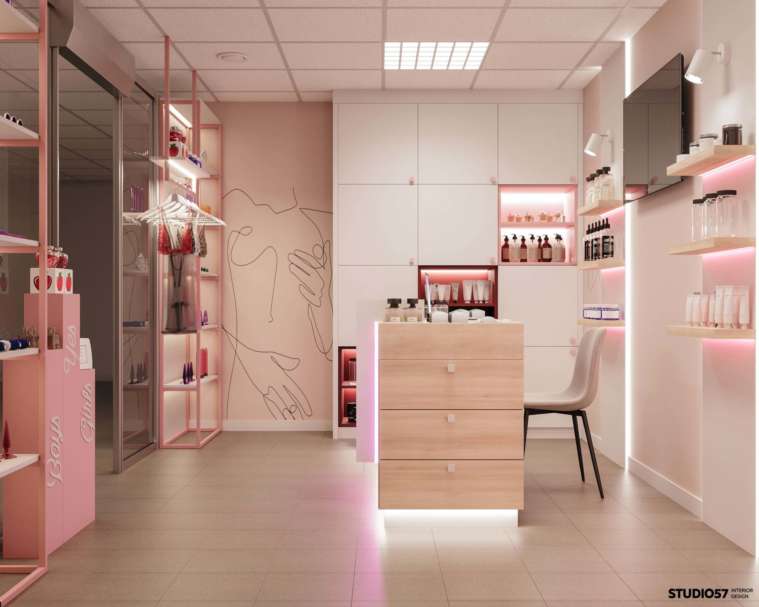 Дизайн магазина игрушек для взрослых. Вид 1.