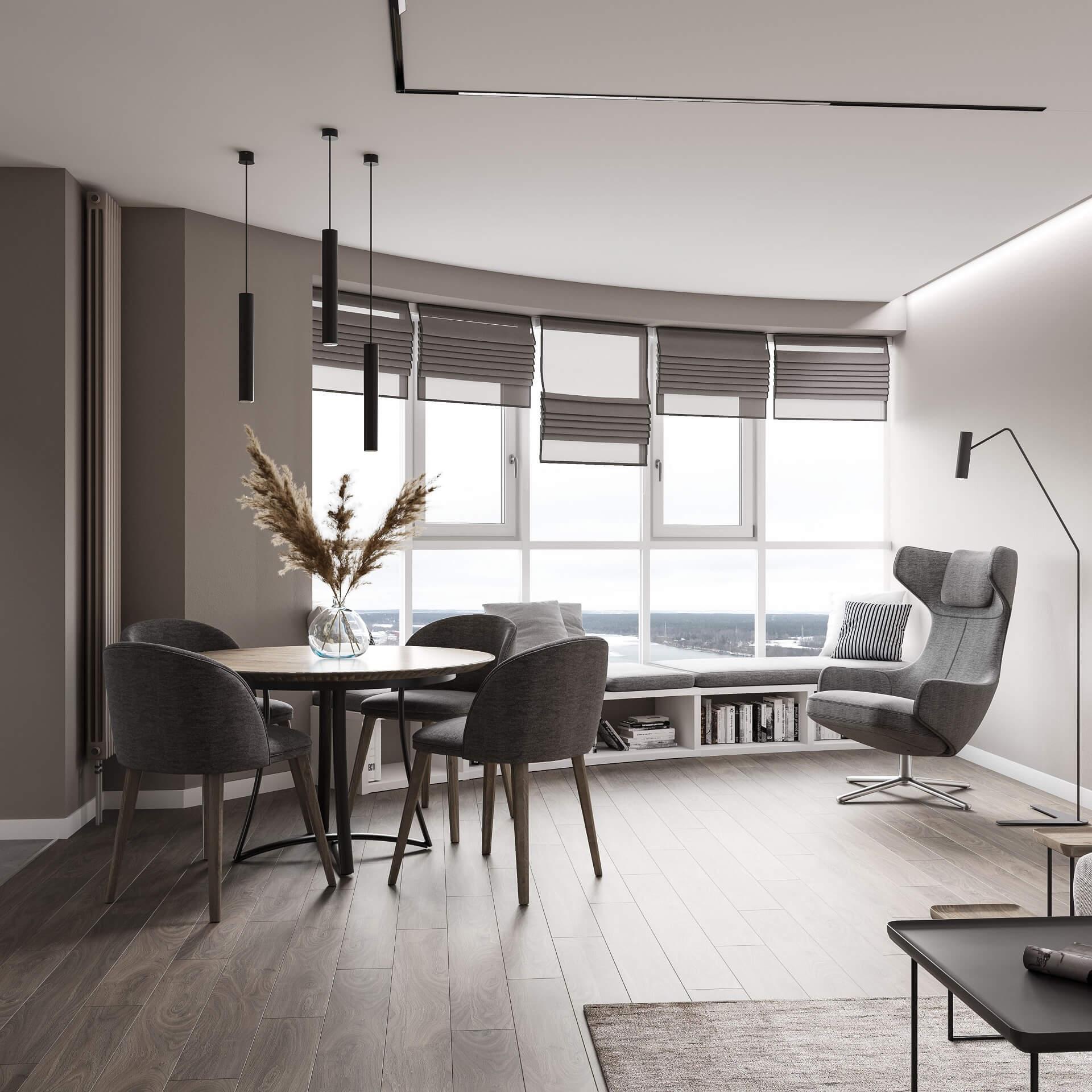 Дизайн кухни-гостиной. Зона отдыха. Вид 1