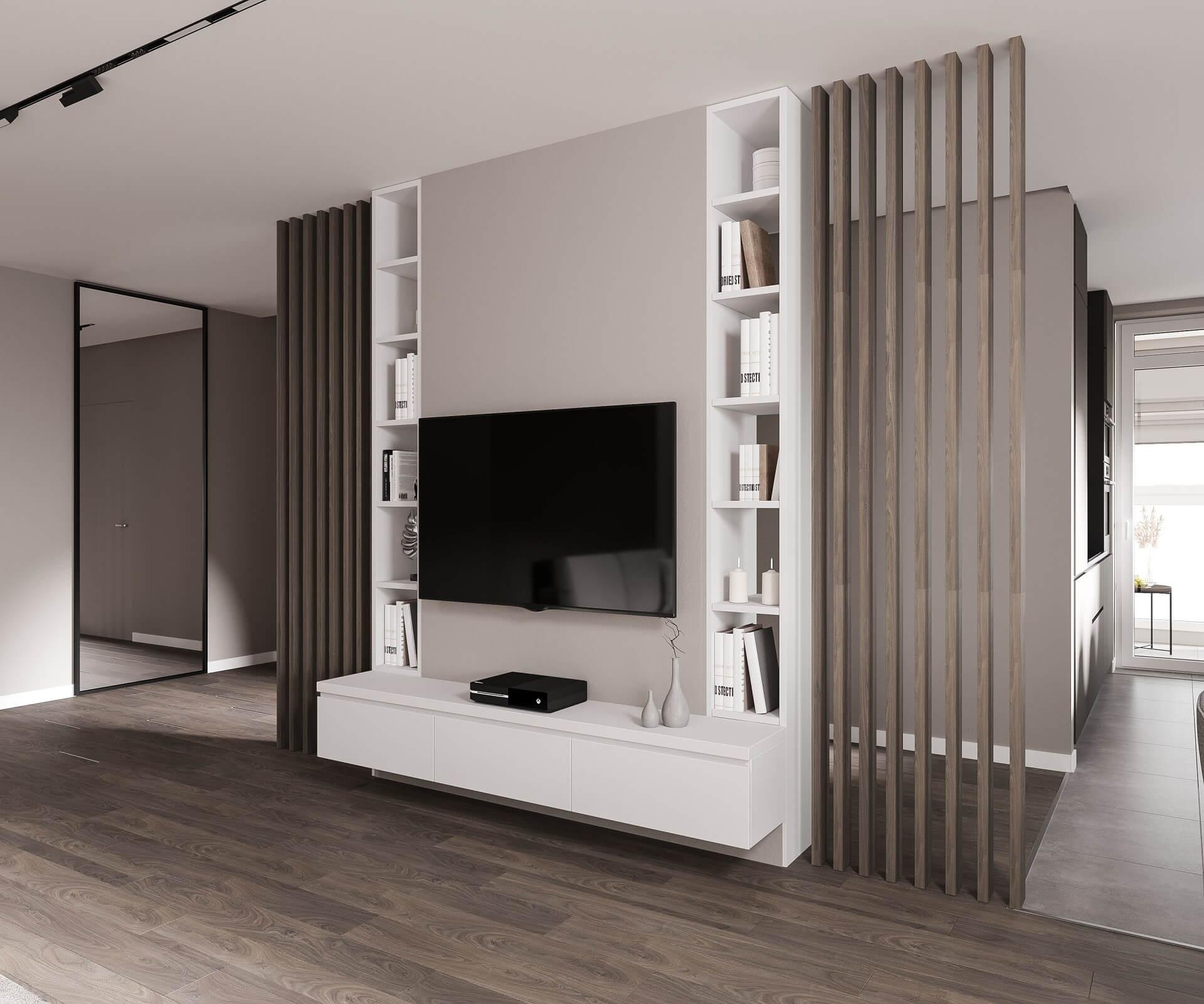 Дизайн кухни-гостиной. ТВ-зона. Вид 3.