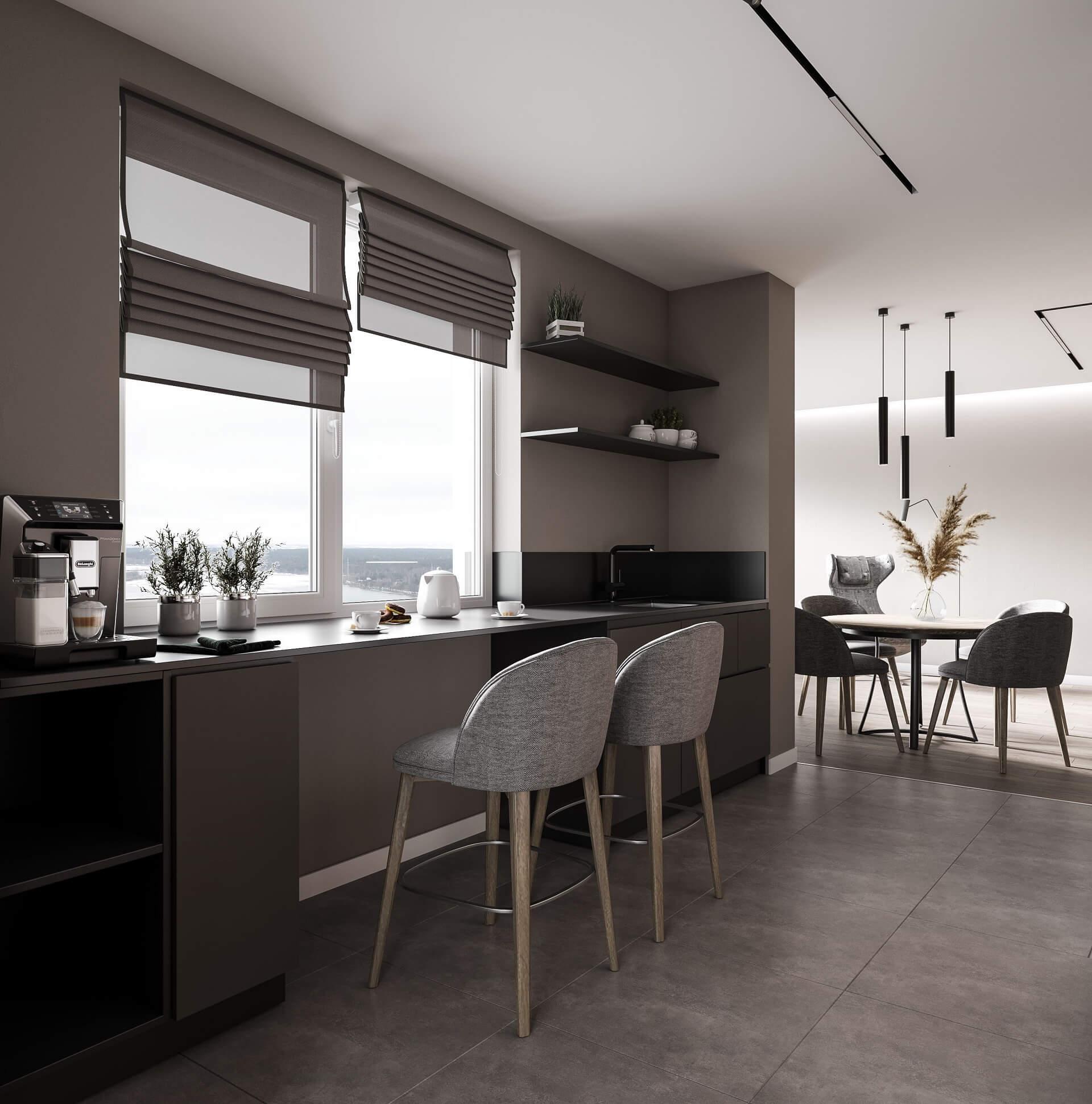 Дизайн кухни-гостиной. Интерьер кухни. Столовая группа.