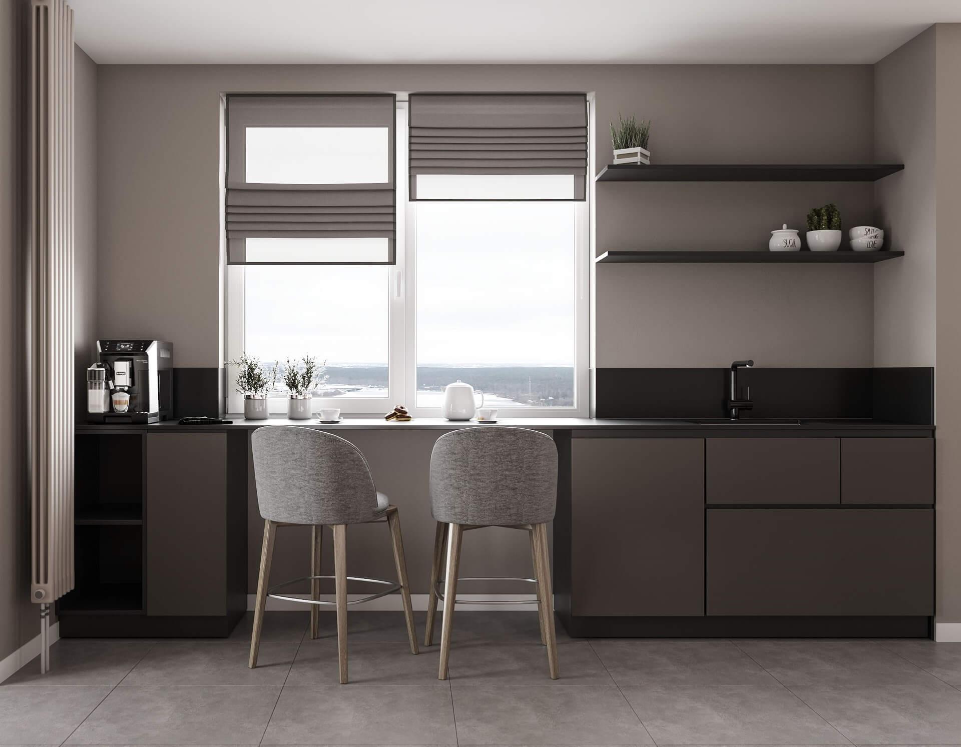 Дизайн кухни-гостиной. Интерьер кухни. Вид 1.