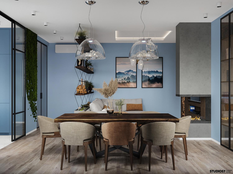Дизайн гостиной. Столовая группа. Вид 3.