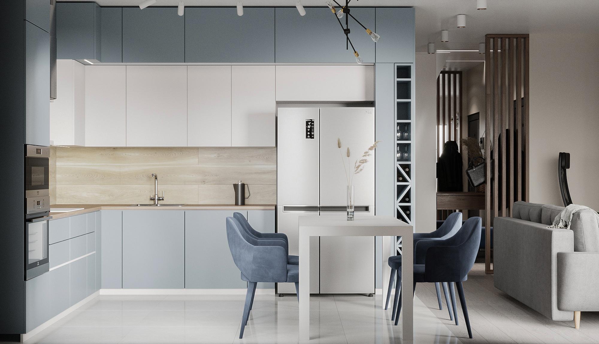 Дизайн кухни-гостиной. Столовая группа.