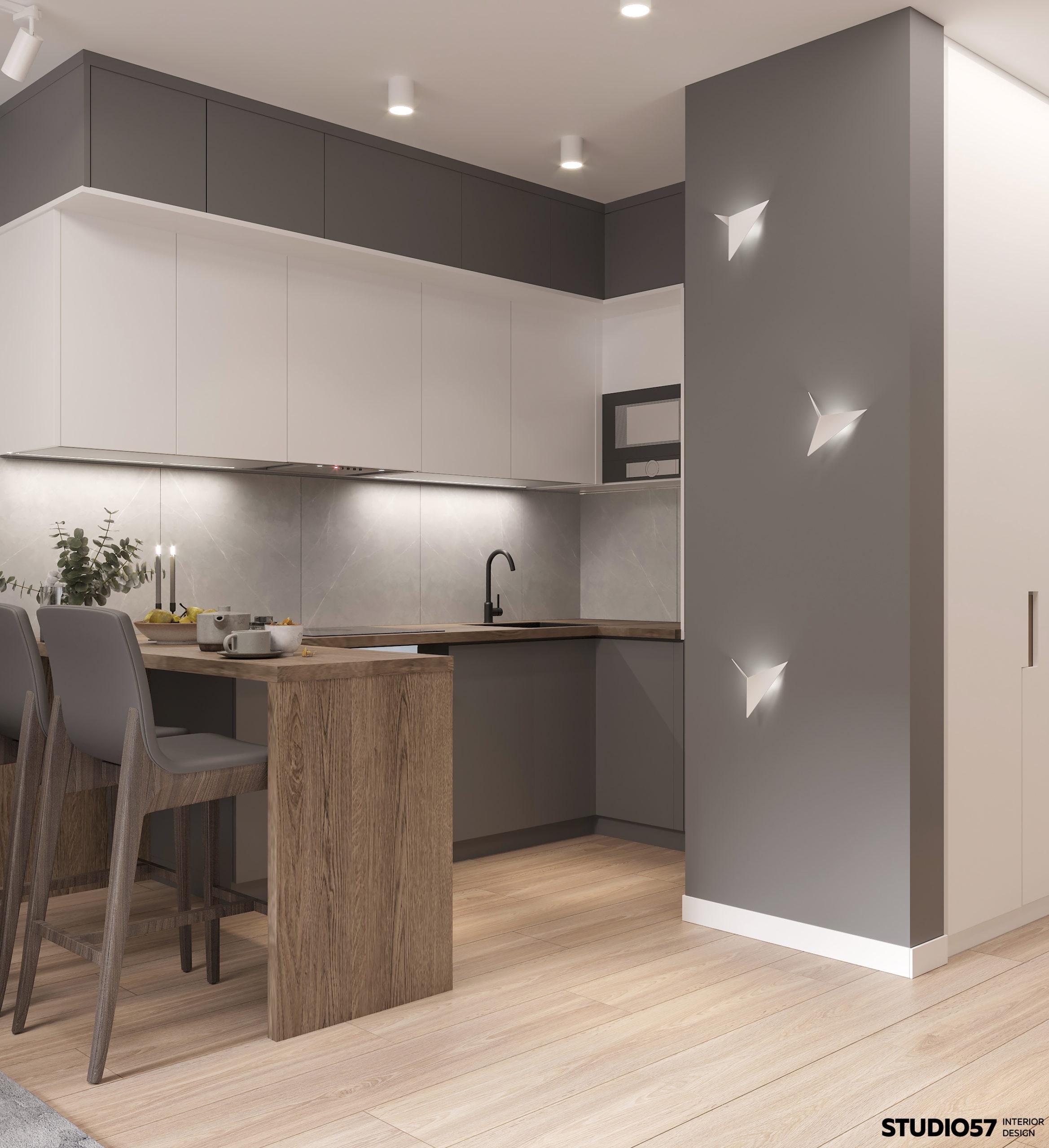 Дизайн кухни-гостиной. Зона кухни.