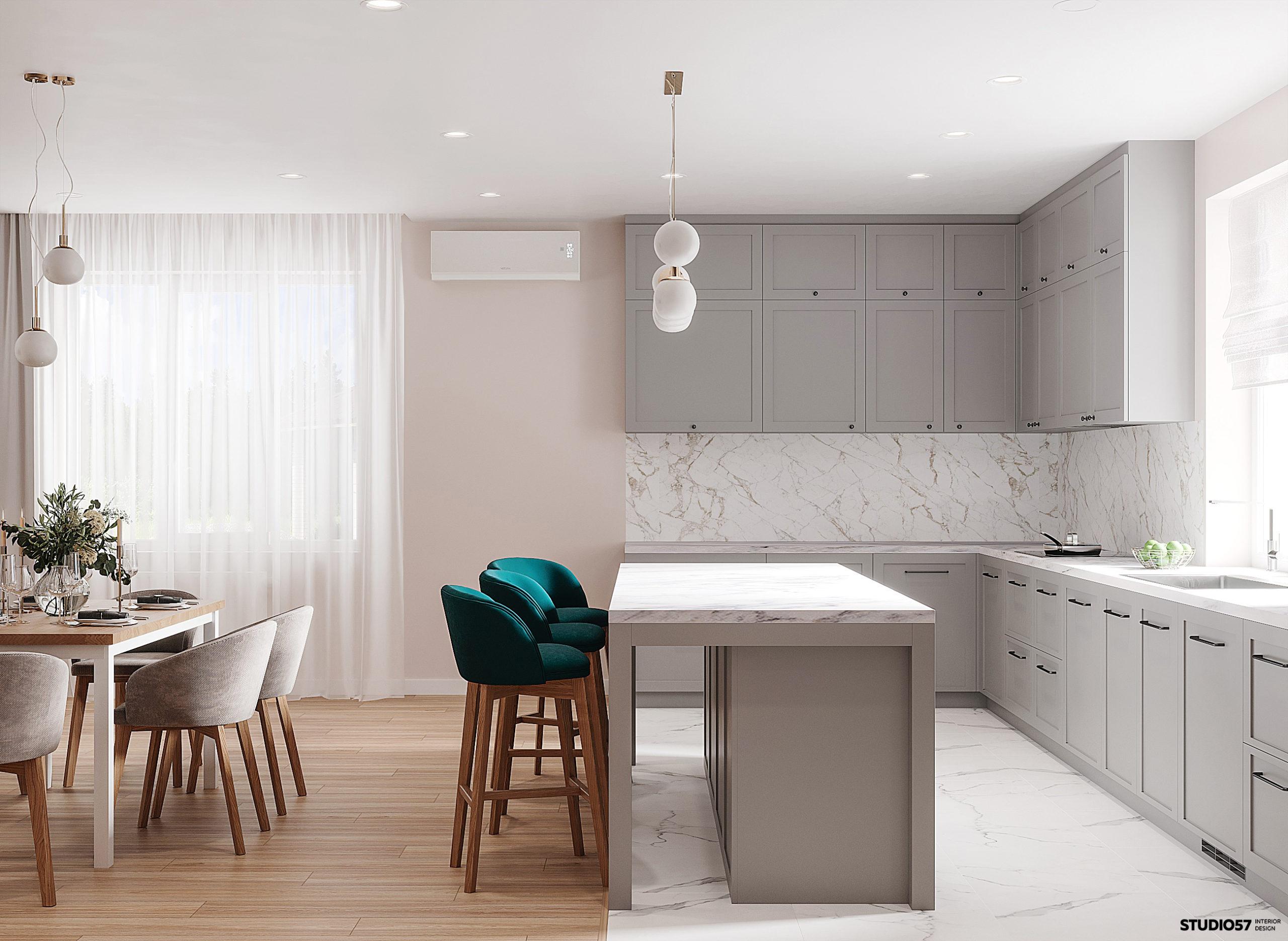Интерьер кухни-гостиной. Вид 3.
