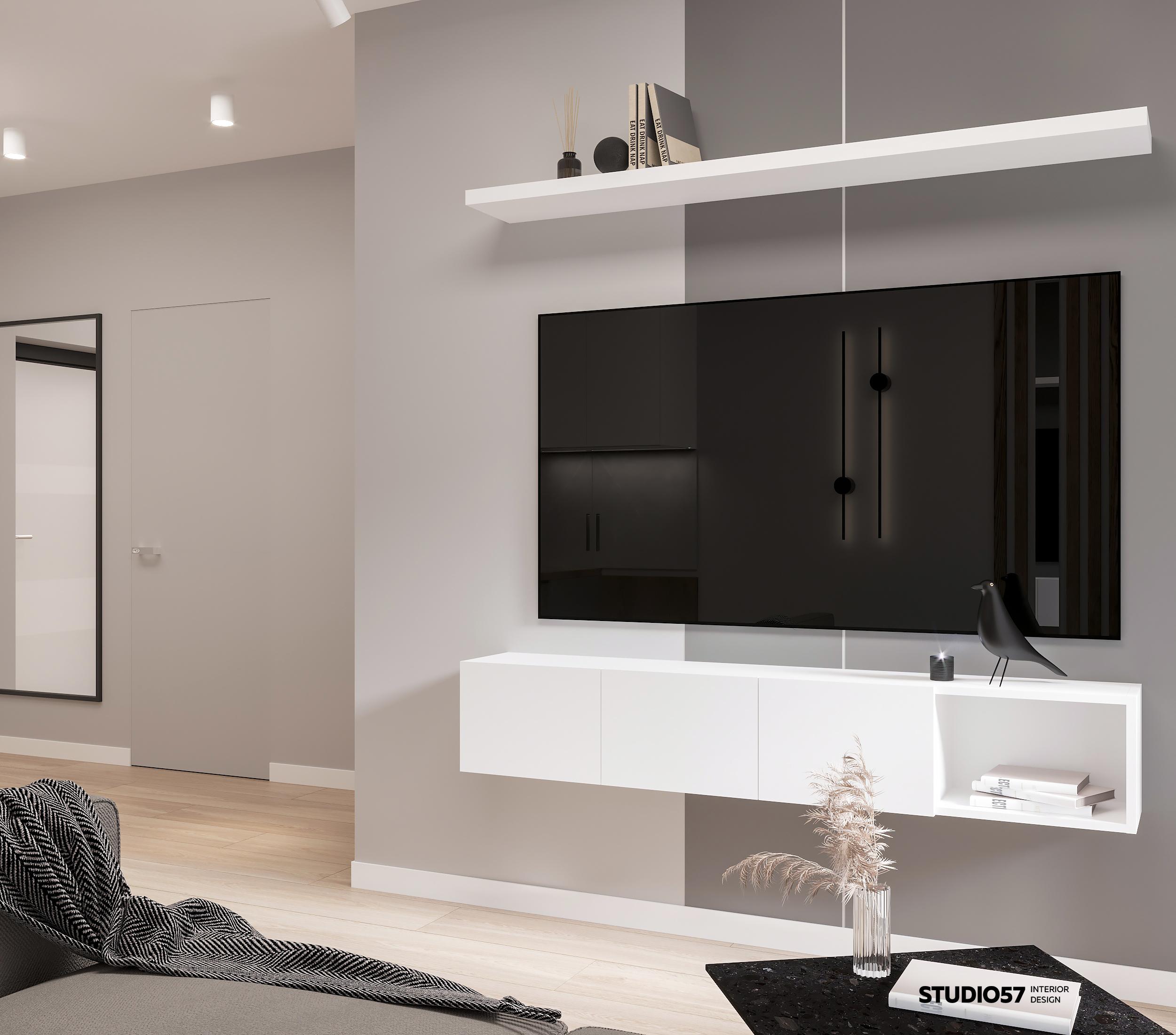 Дизайн кухни-гостиной. Зона ТВ.