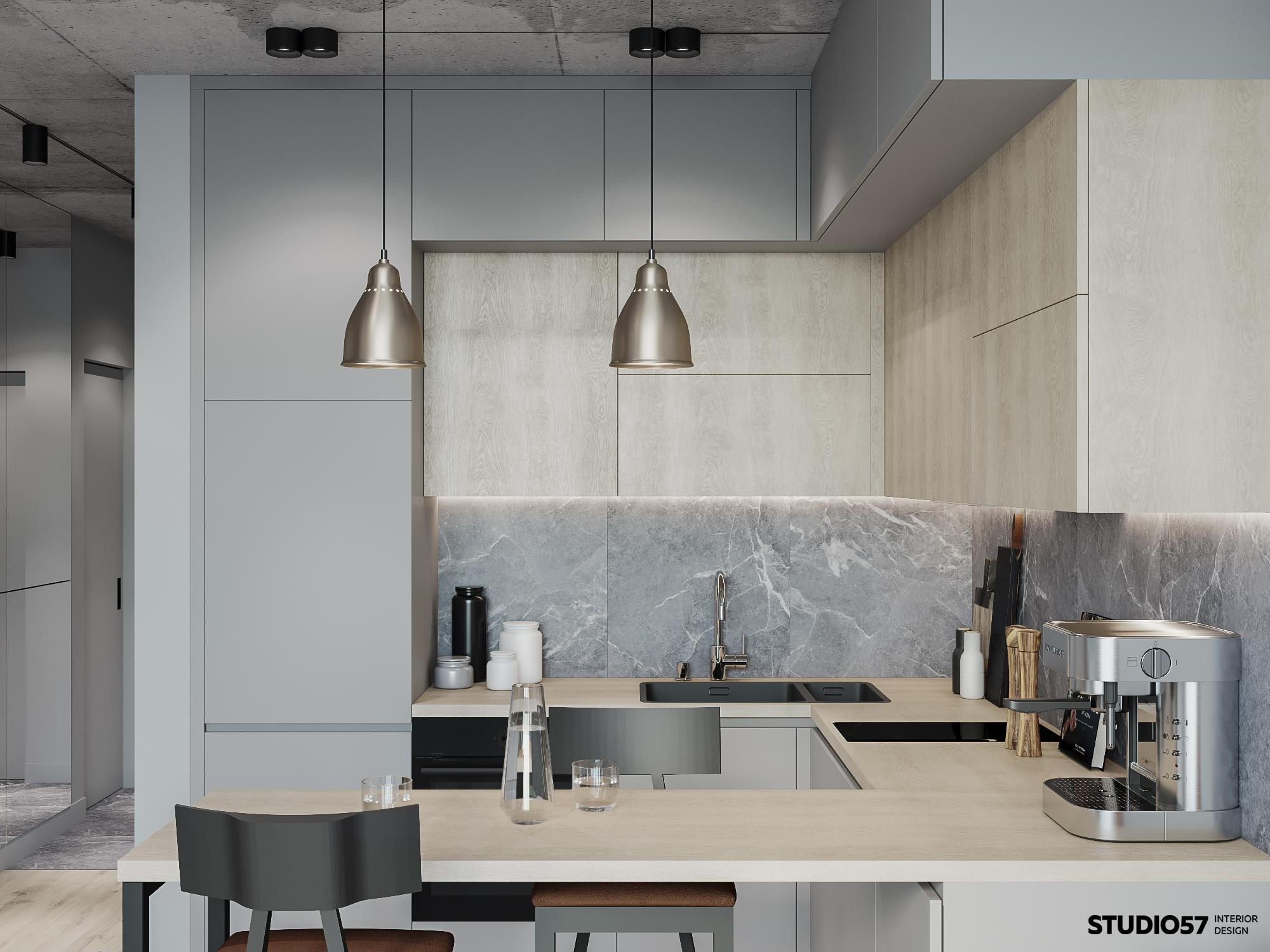 Кухня-гостиная. Зона кухни. Вид 2.